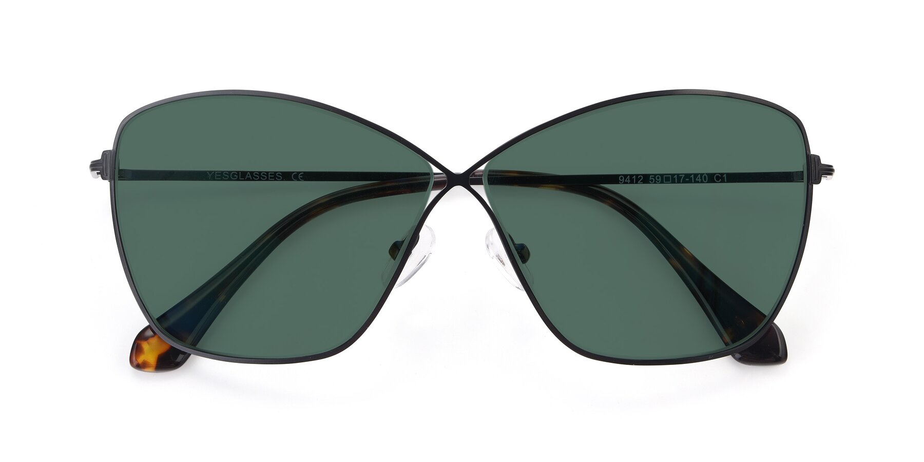Folded Front of 9412 in Black with Green Polarized Lenses