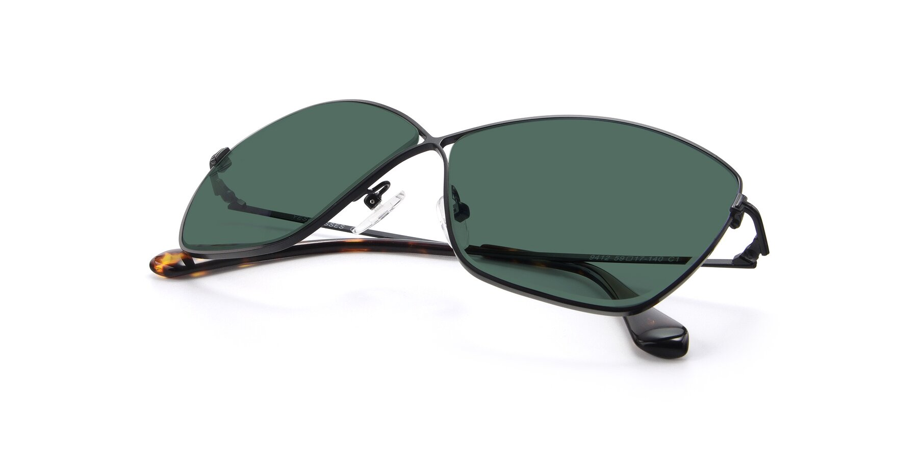 View of 9412 in Black with Green Polarized Lenses
