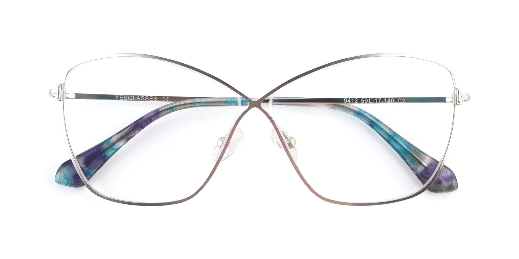 Folded Front of 9412 in Silver with Clear Blue Light Blocking Lenses