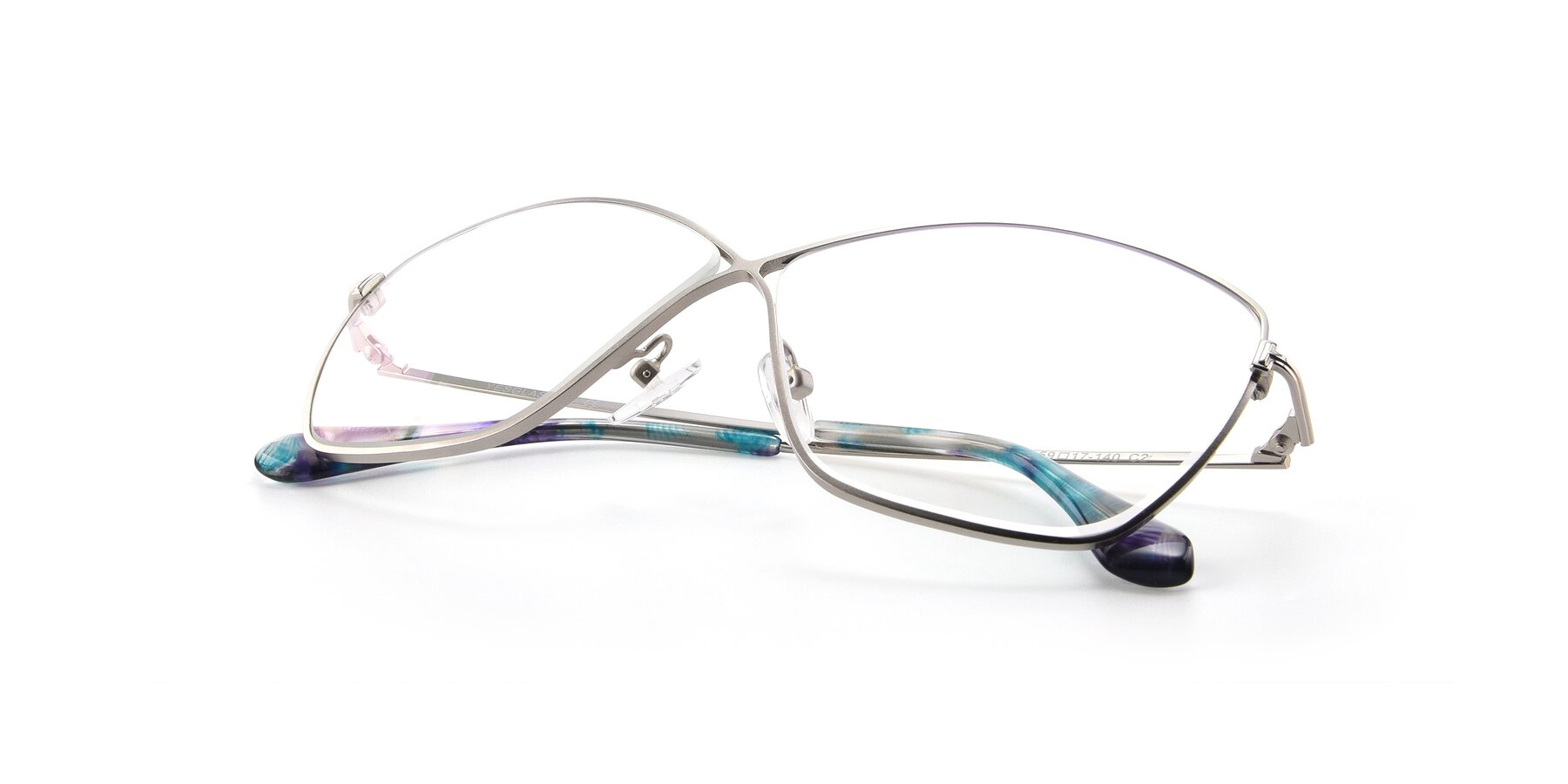 View of 9412 in Silver with Clear Blue Light Blocking Lenses