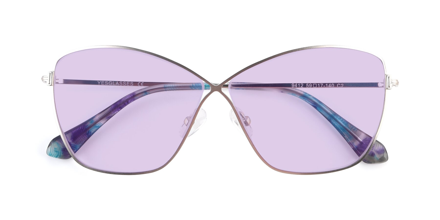 Folded Front of 9412 in Silver with Light Purple Tinted Lenses