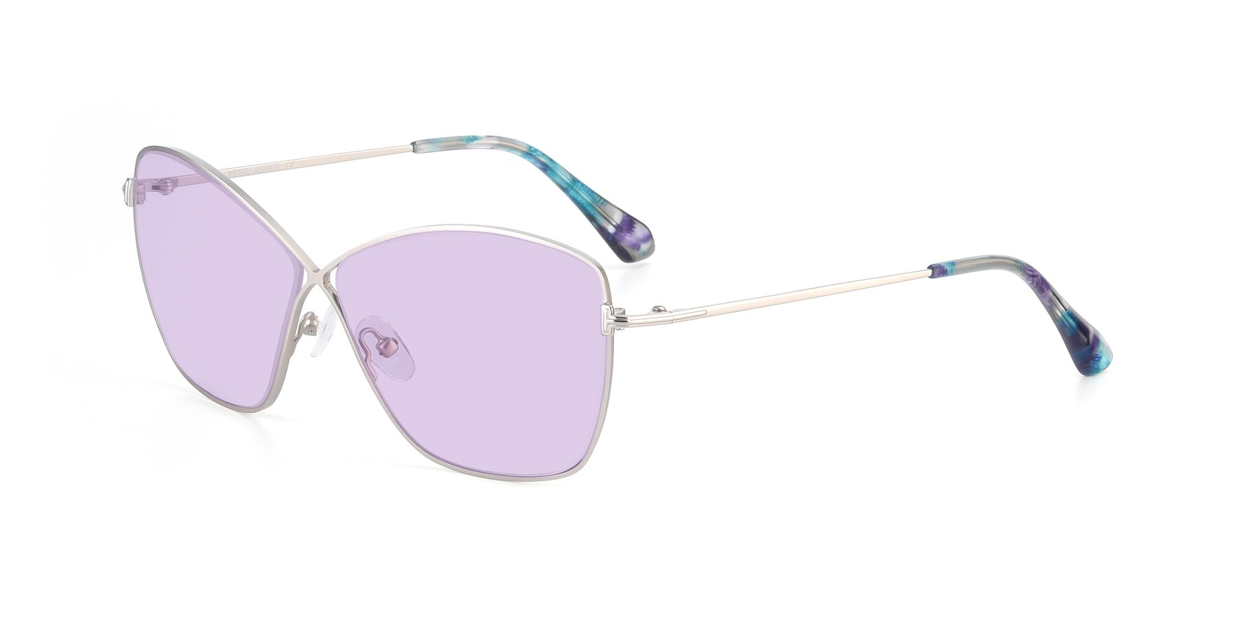 Angle of 9412 in Silver with Light Purple Tinted Lenses