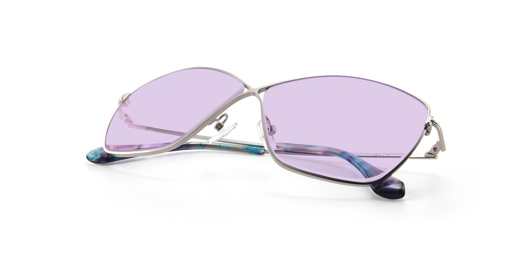 View of 9412 in Silver with Light Purple Tinted Lenses
