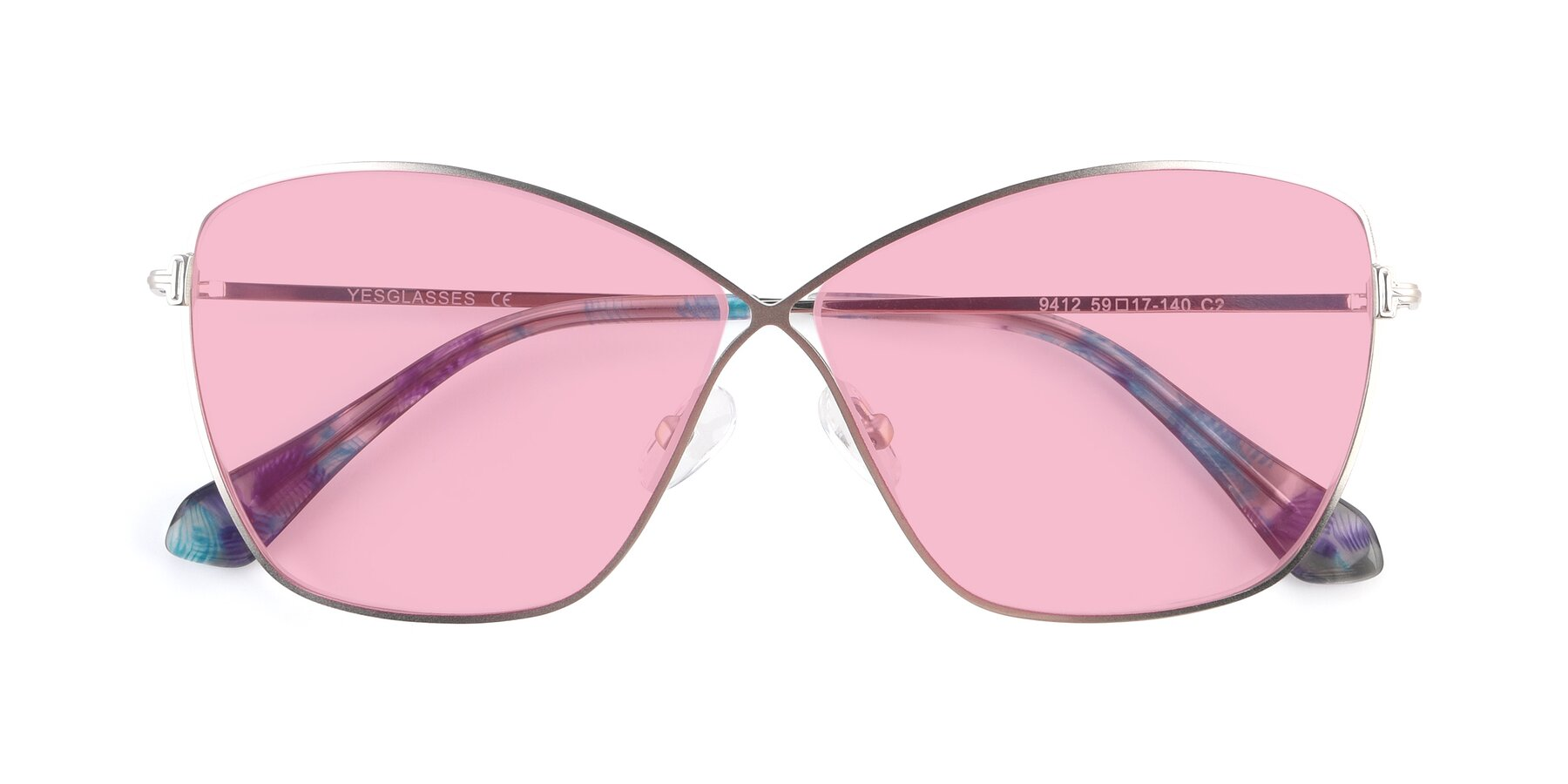 Folded Front of 9412 in Silver with Medium Pink Tinted Lenses
