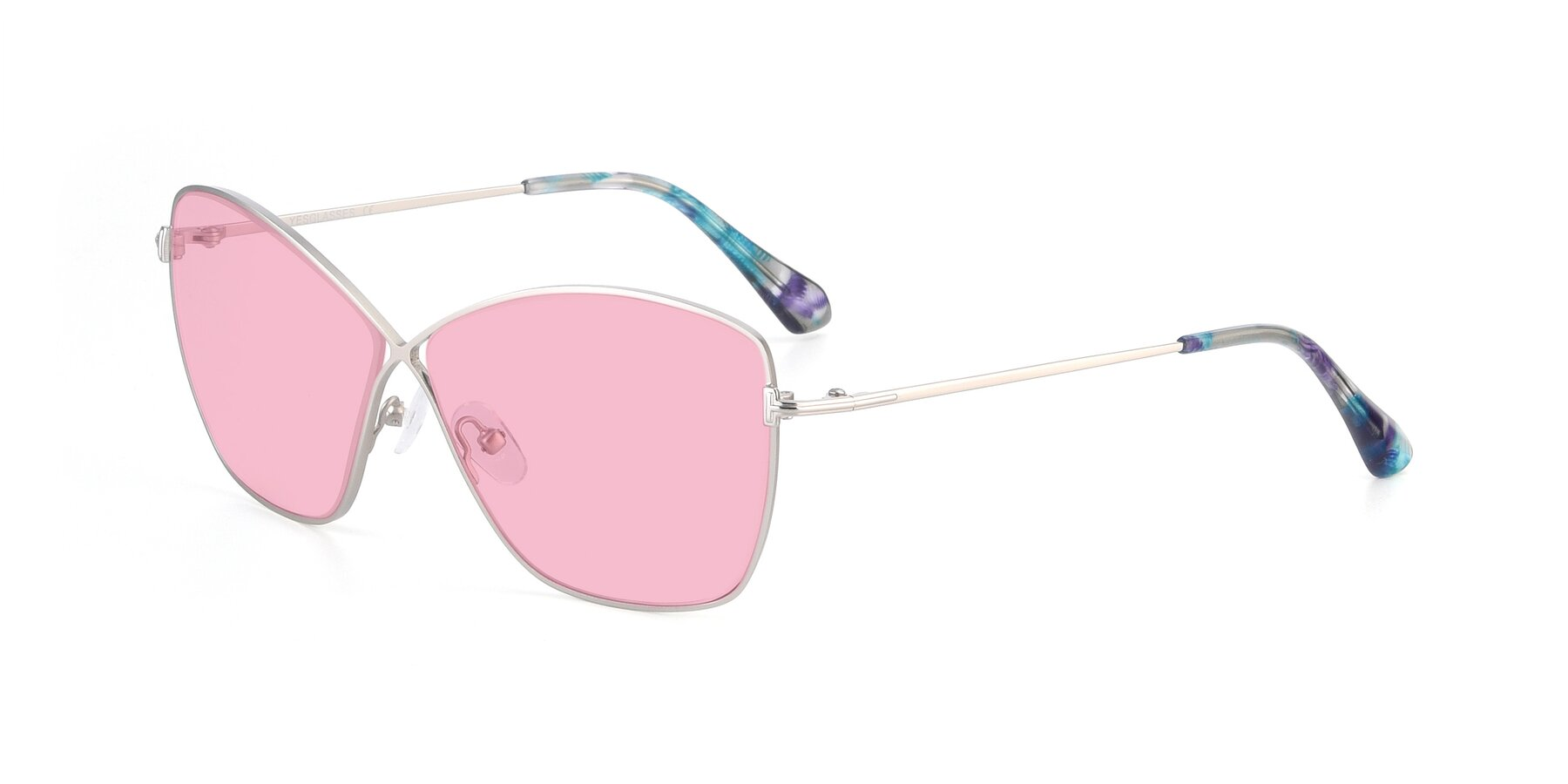 Angle of 9412 in Silver with Medium Pink Tinted Lenses