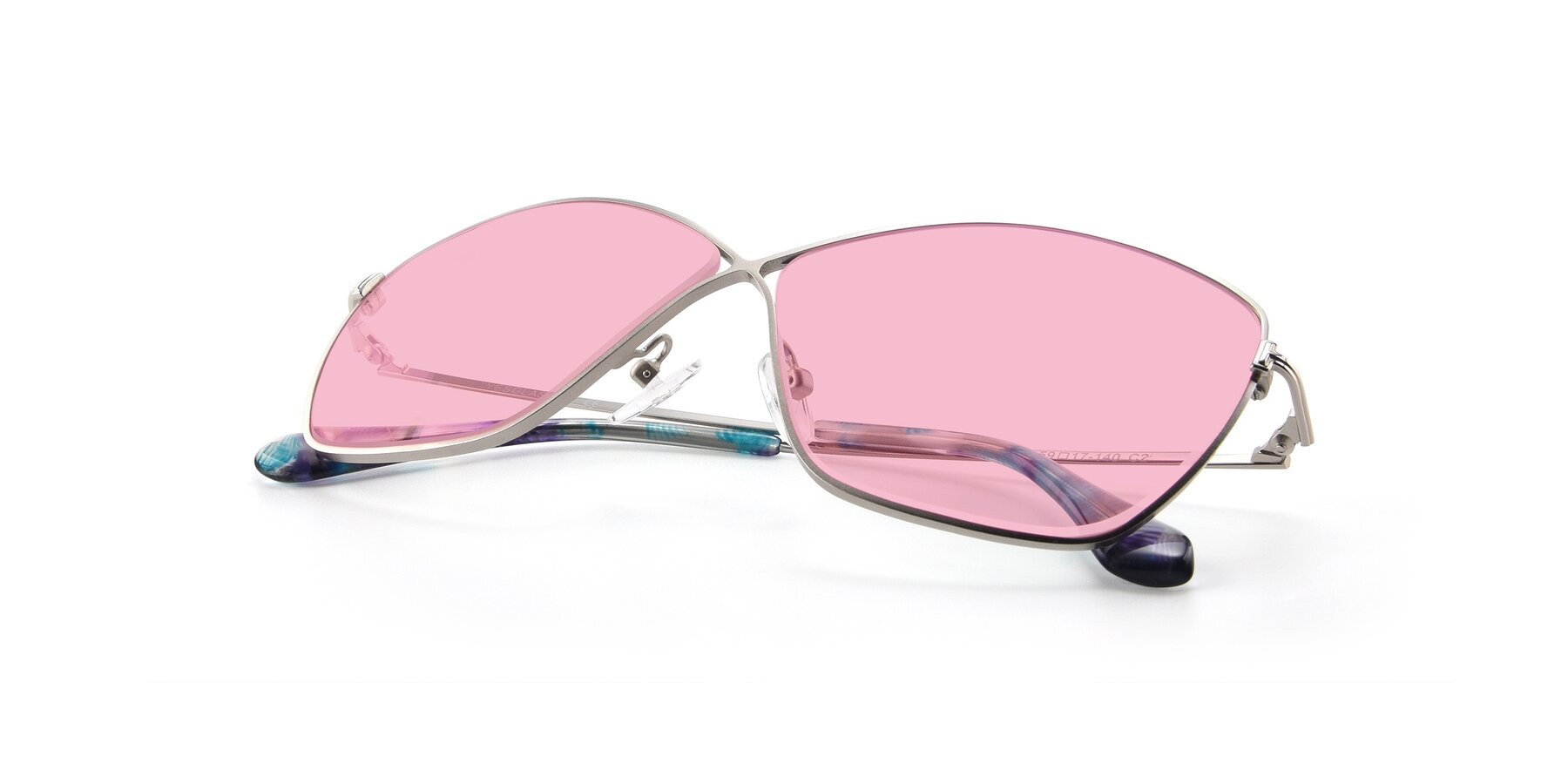 View of 9412 in Silver with Medium Pink Tinted Lenses
