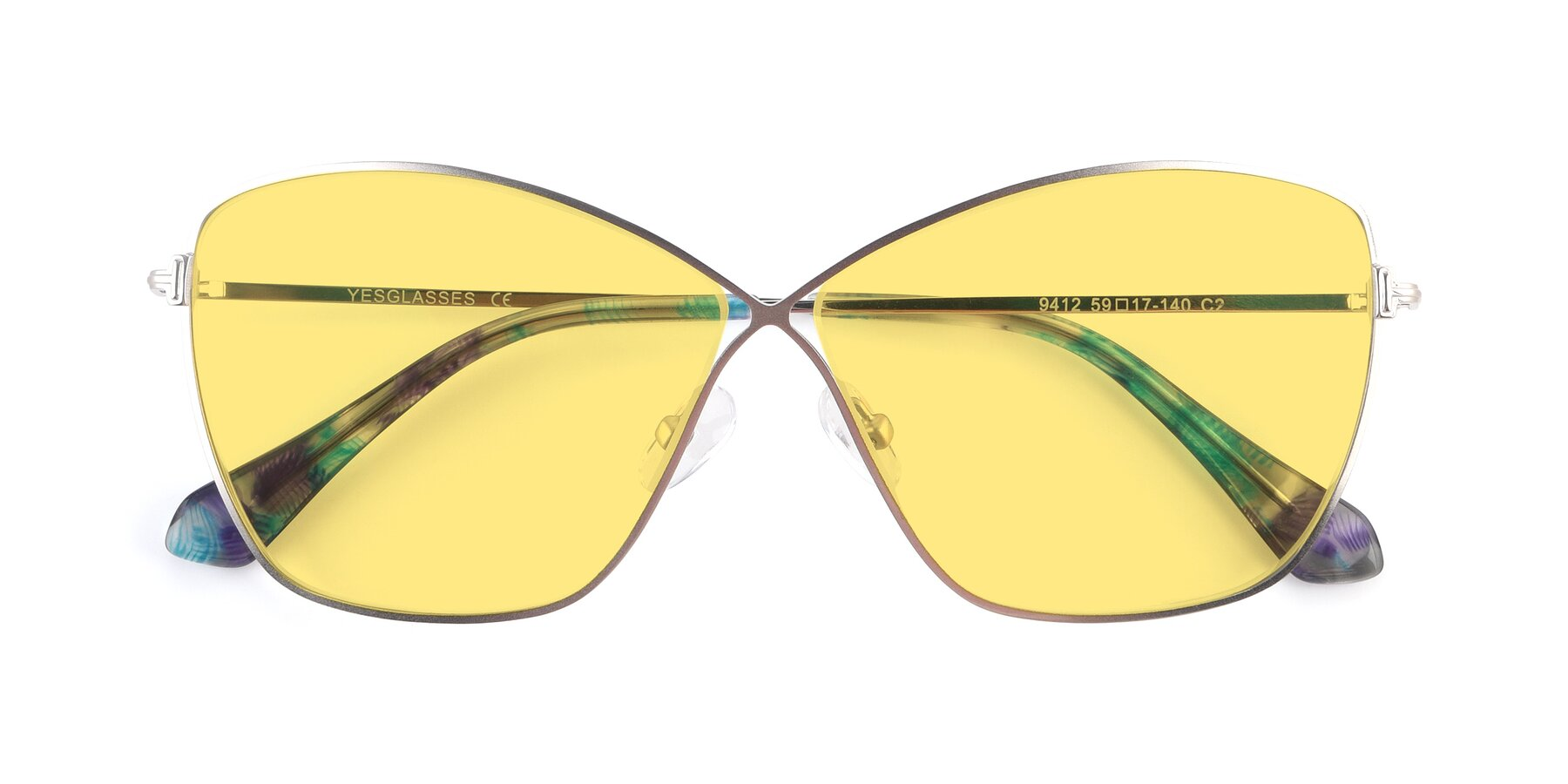 Folded Front of 9412 in Silver with Medium Yellow Tinted Lenses