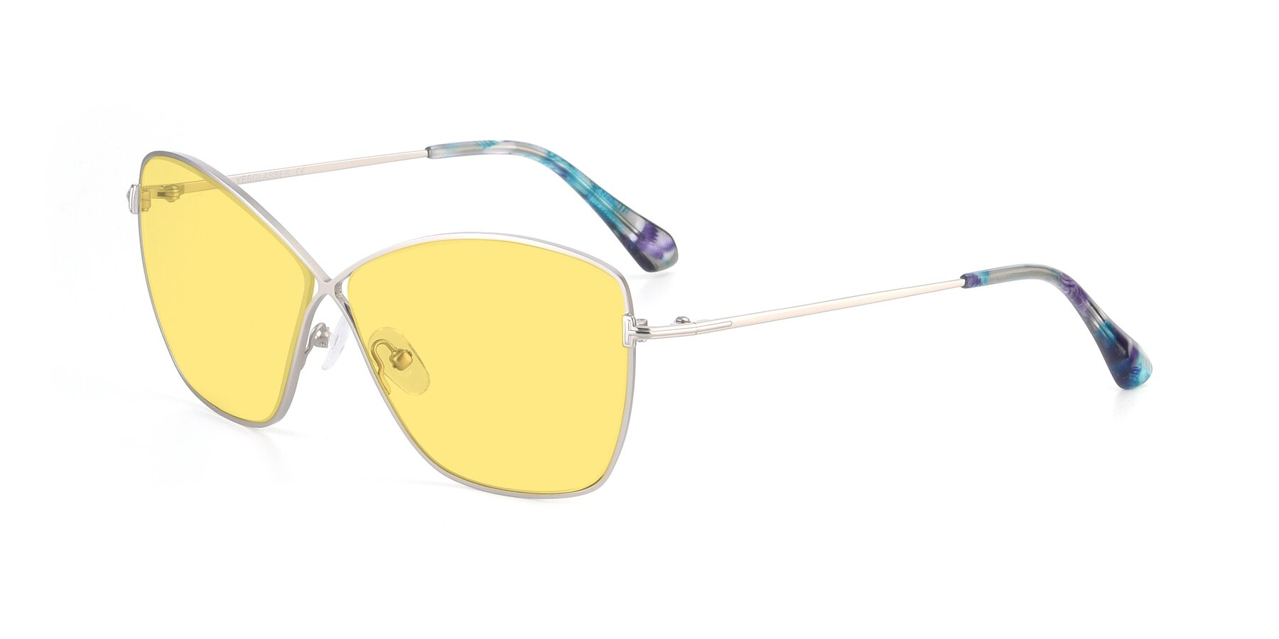 Angle of 9412 in Silver with Medium Yellow Tinted Lenses
