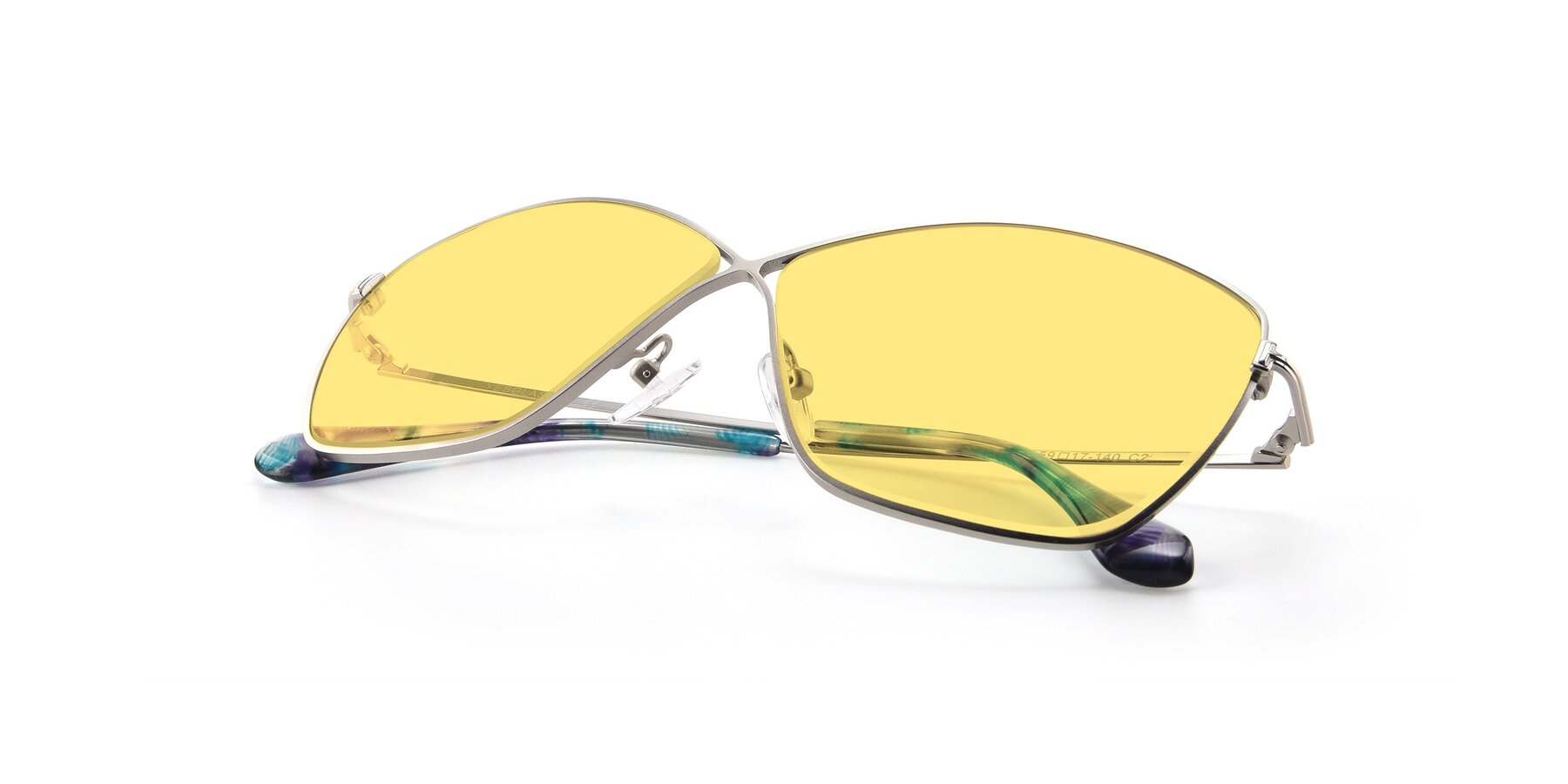 View of 9412 in Silver with Medium Yellow Tinted Lenses