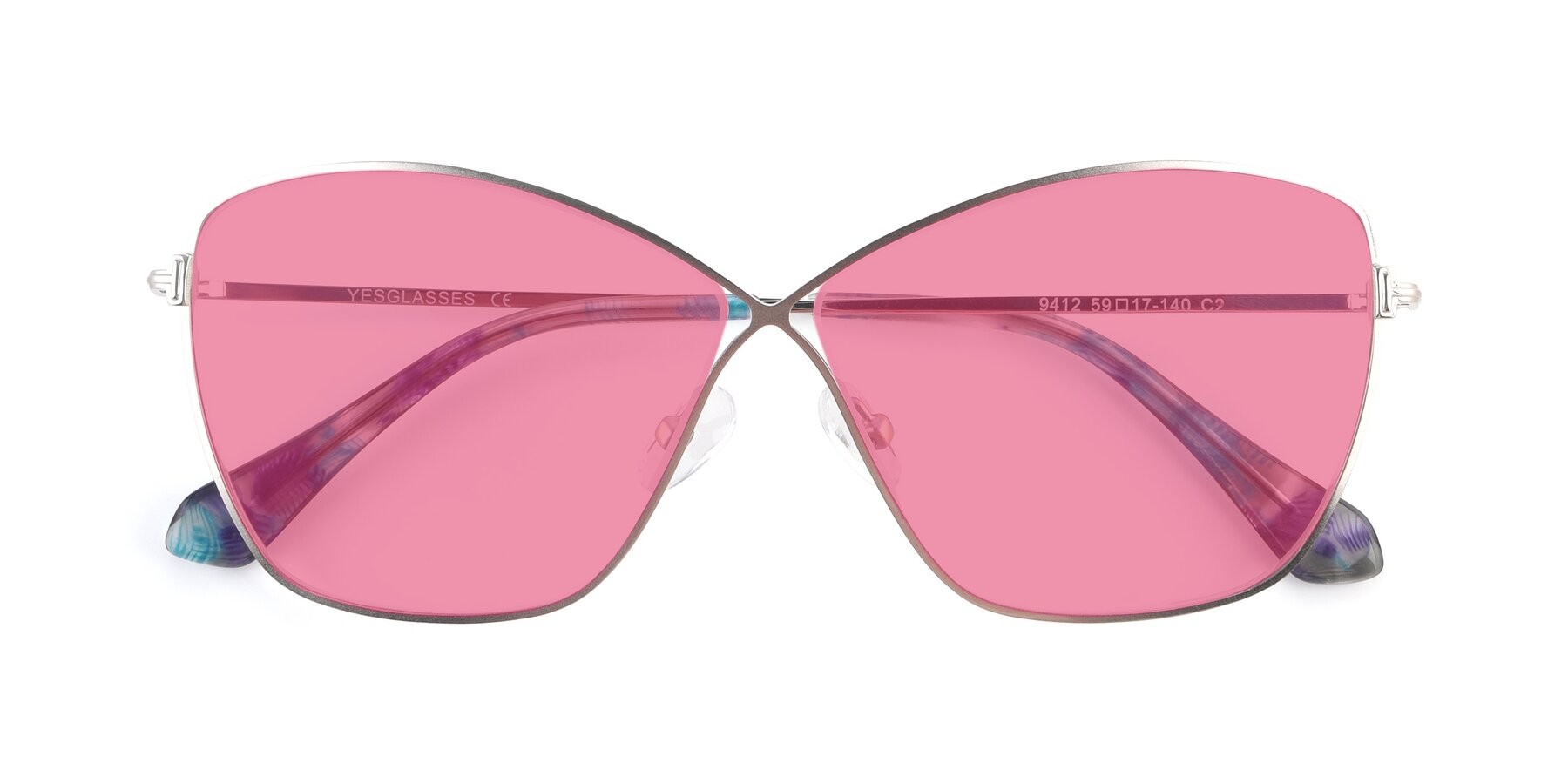 Folded Front of 9412 in Silver with Pink Tinted Lenses