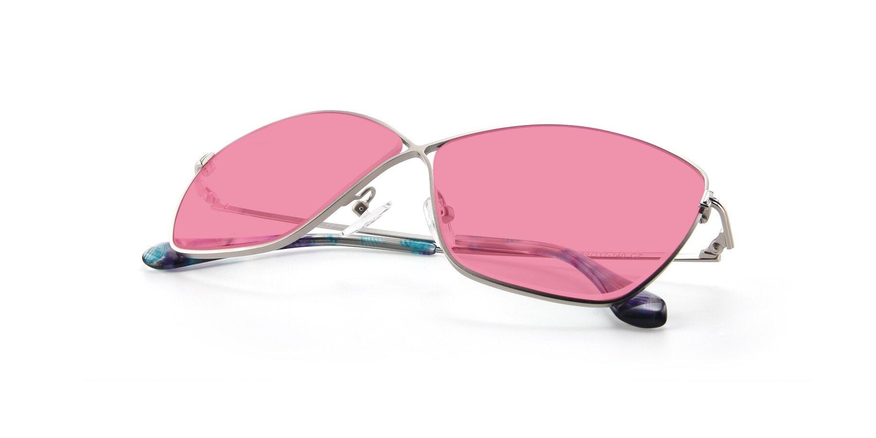 View of 9412 in Silver with Pink Tinted Lenses