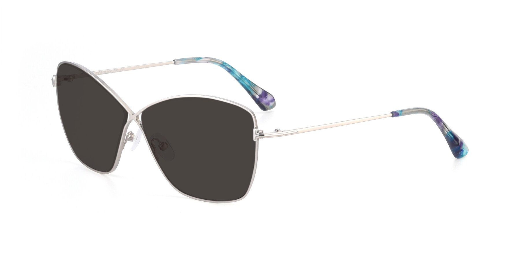 Angle of 9412 in Silver with Gray Tinted Lenses
