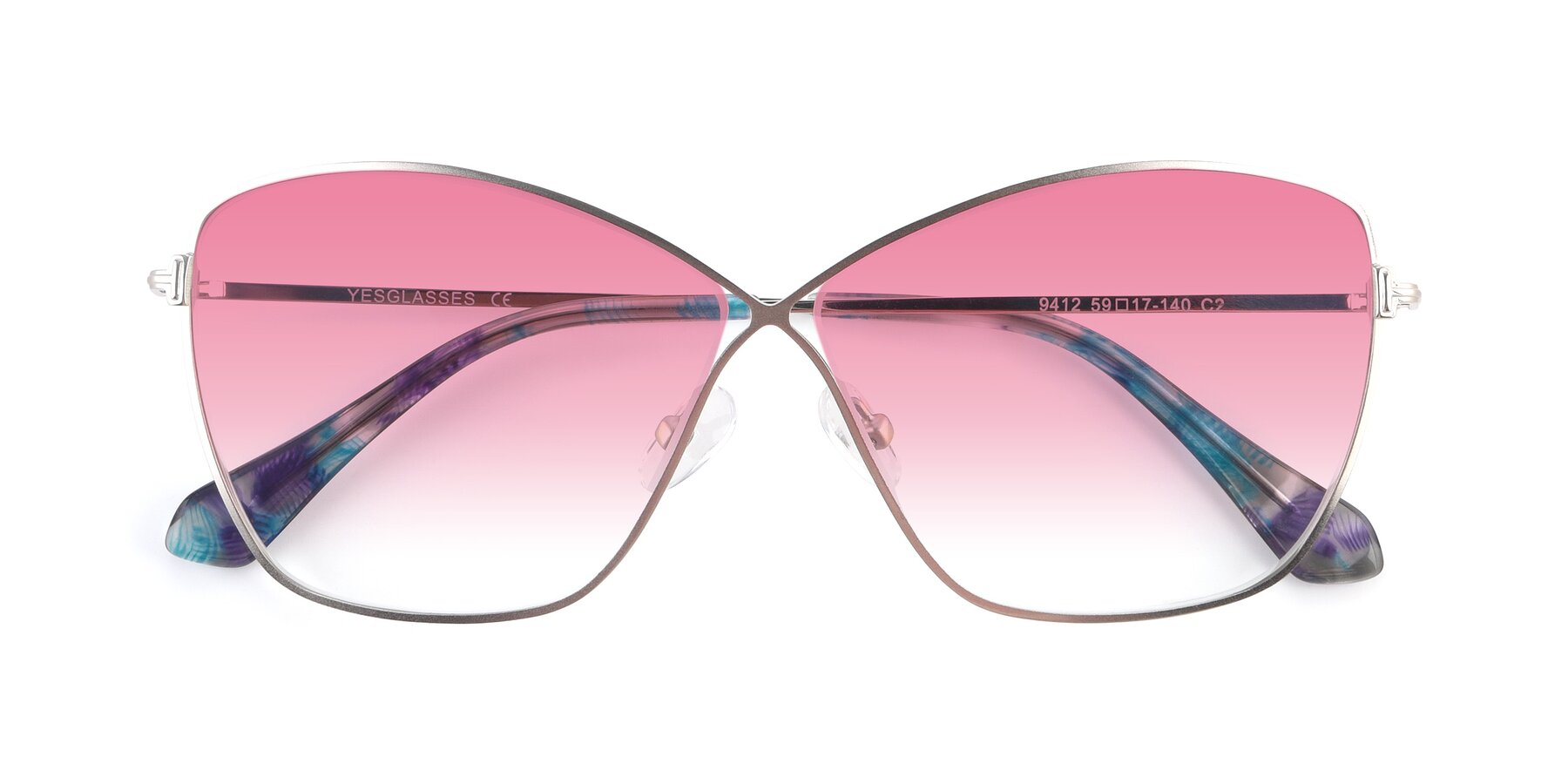Folded Front of 9412 in Silver with Pink Gradient Lenses