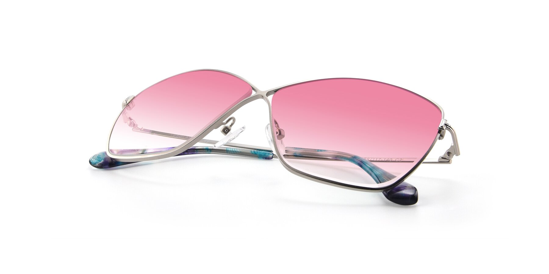 View of 9412 in Silver with Pink Gradient Lenses
