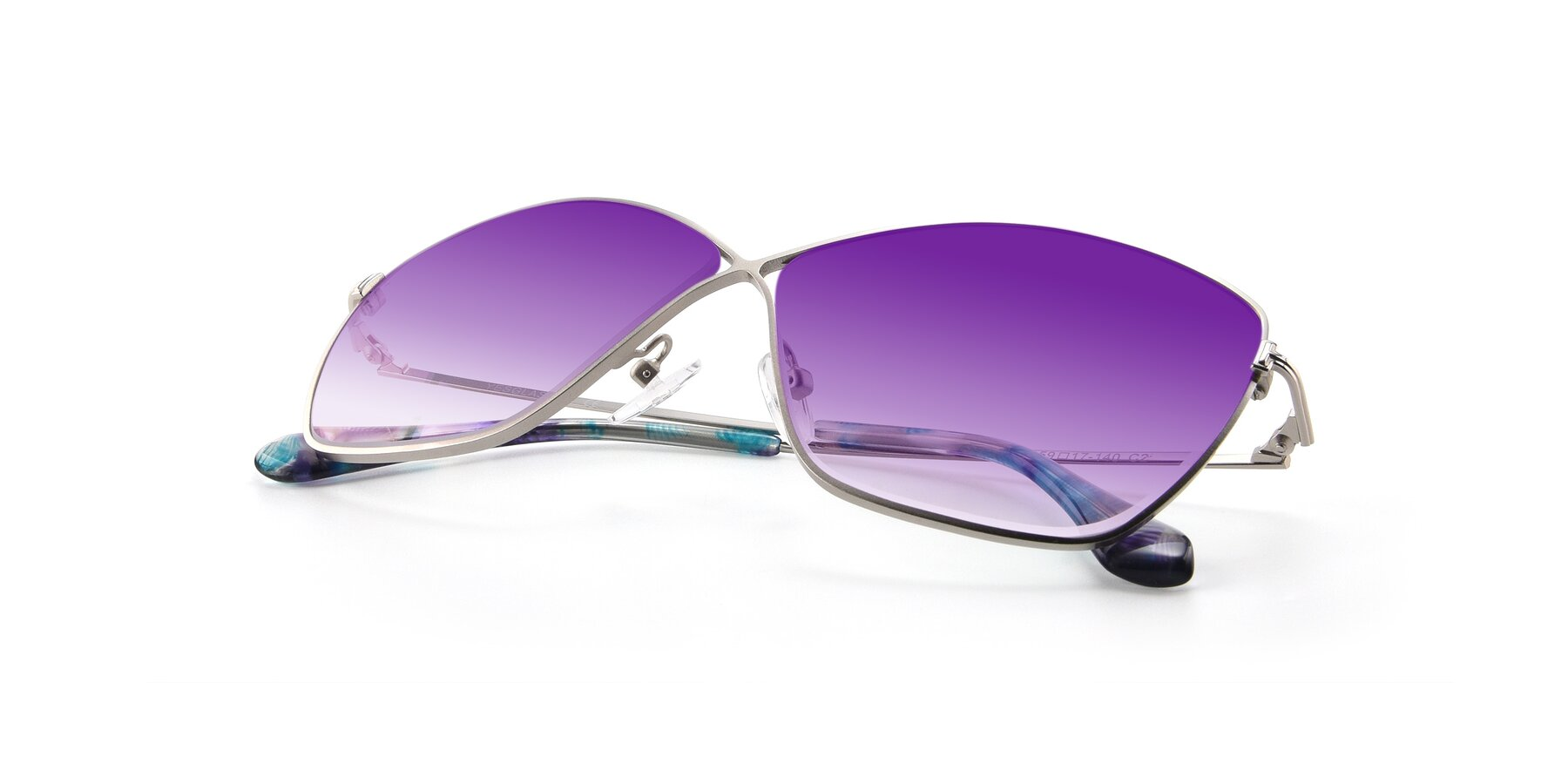 View of 9412 in Silver with Purple Gradient Lenses