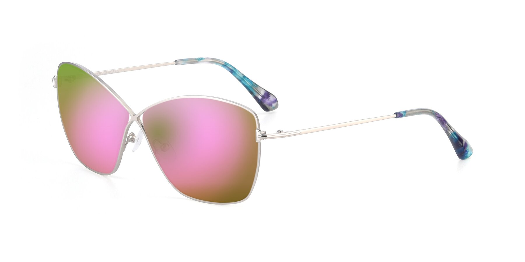 Angle of 9412 in Silver with Pink Mirrored Lenses