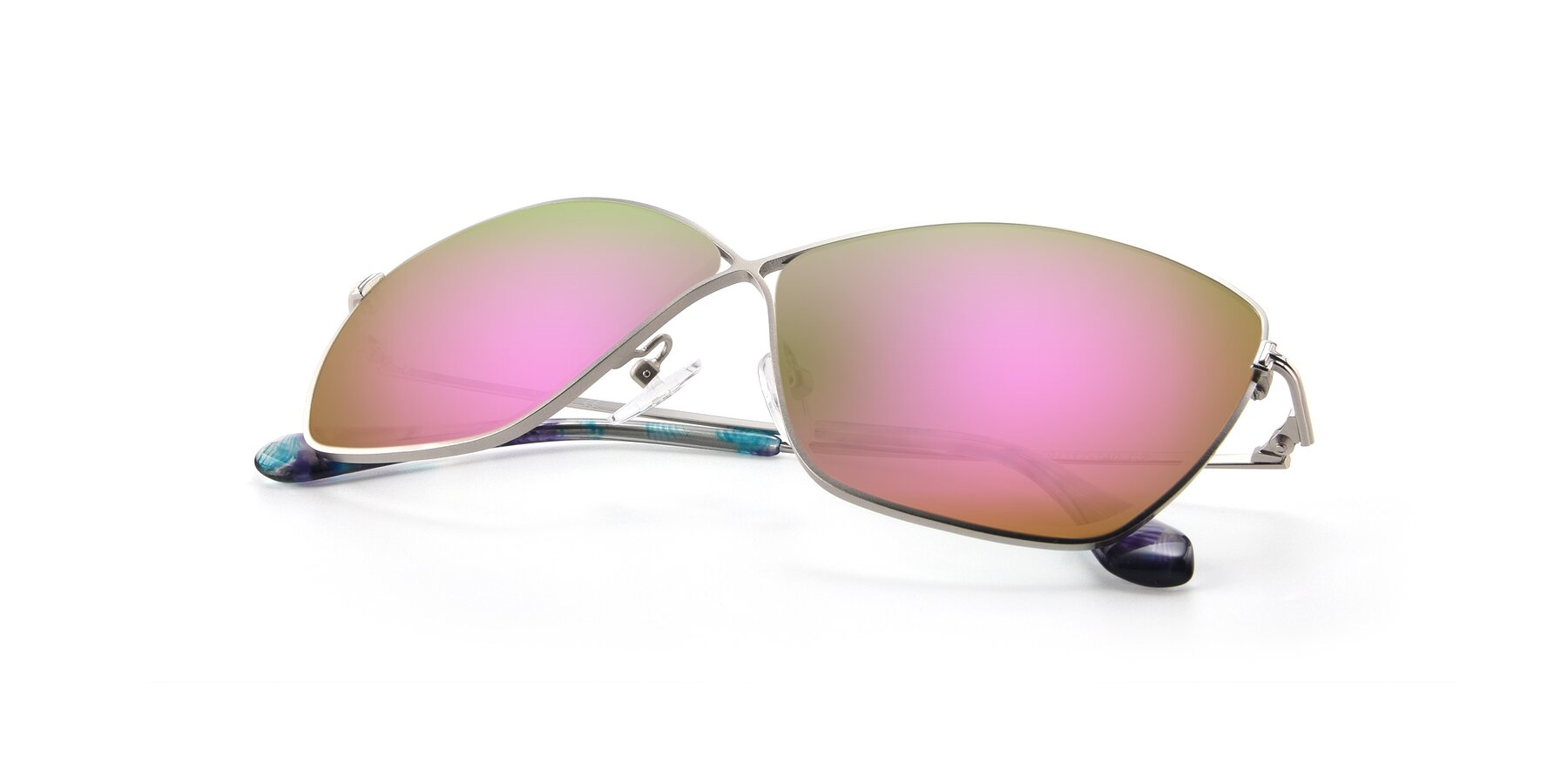 View of 9412 in Silver with Pink Mirrored Lenses