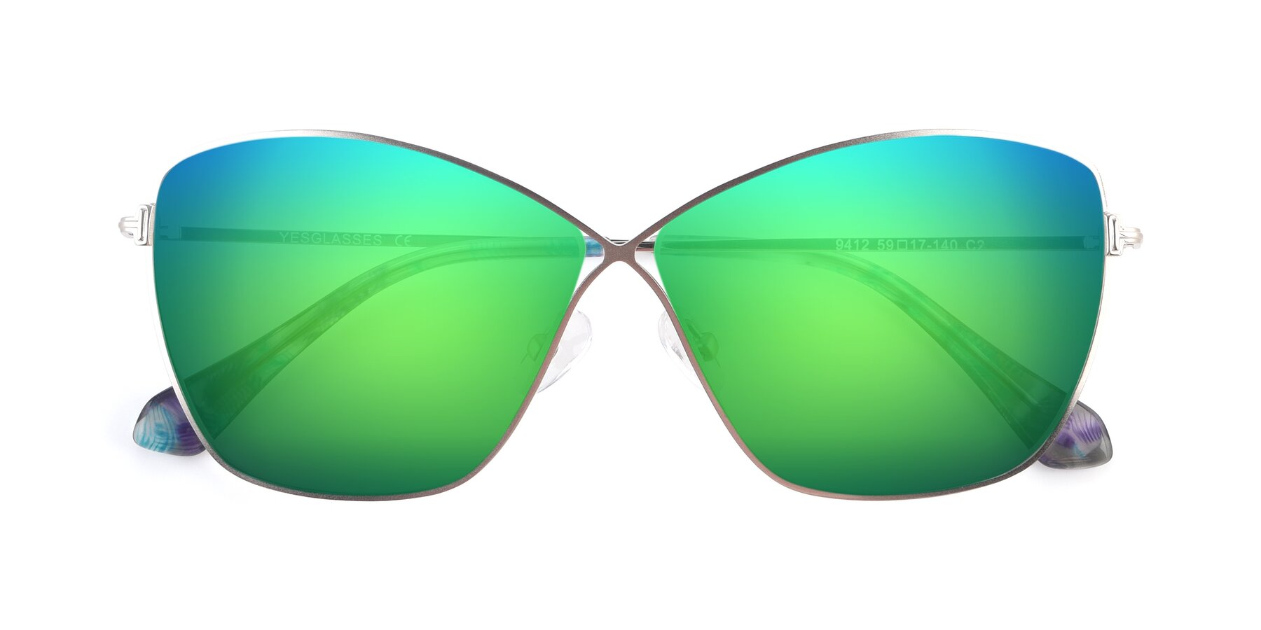 Folded Front of 9412 in Silver with Green Mirrored Lenses