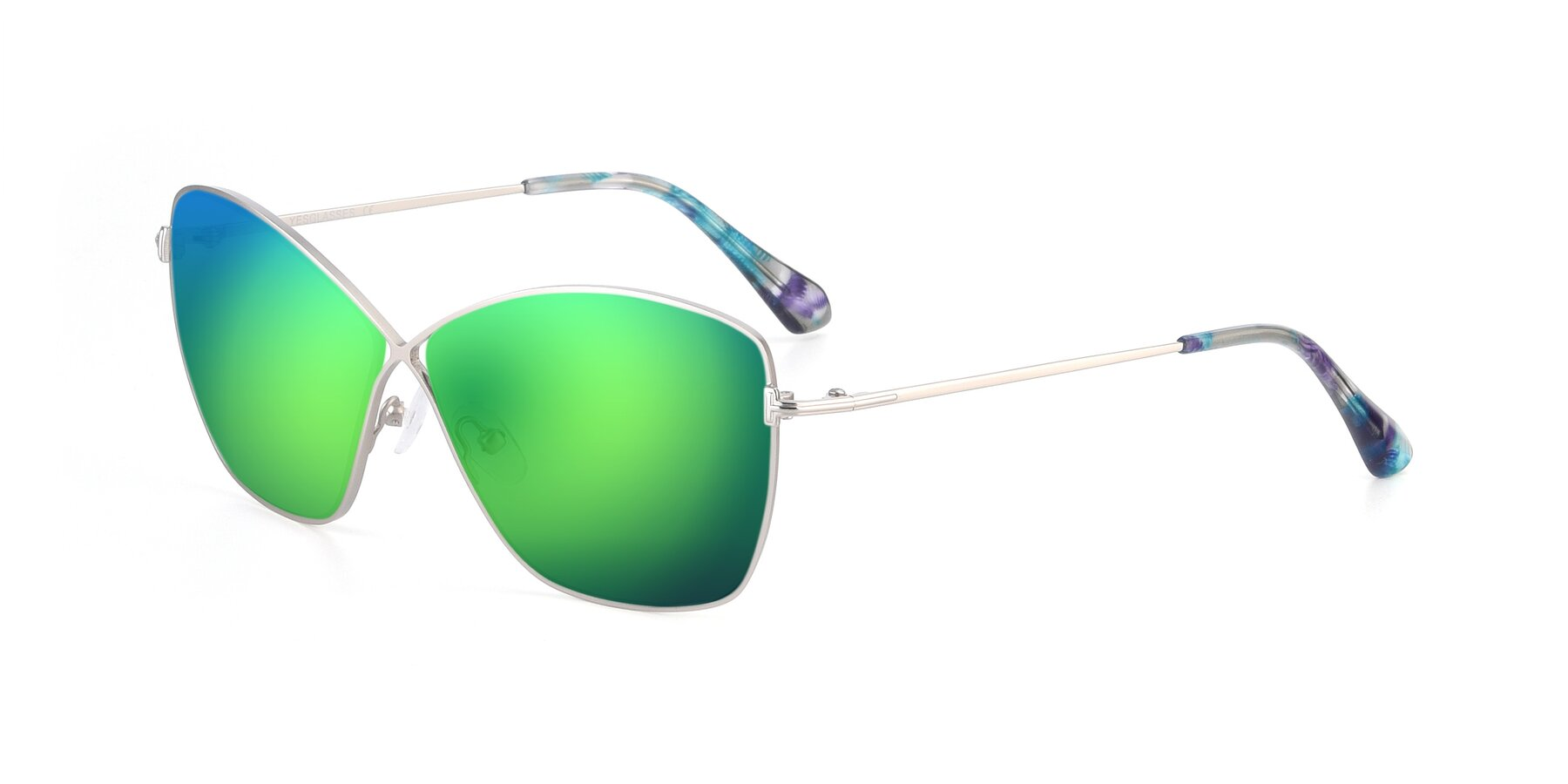 Angle of 9412 in Silver with Green Mirrored Lenses