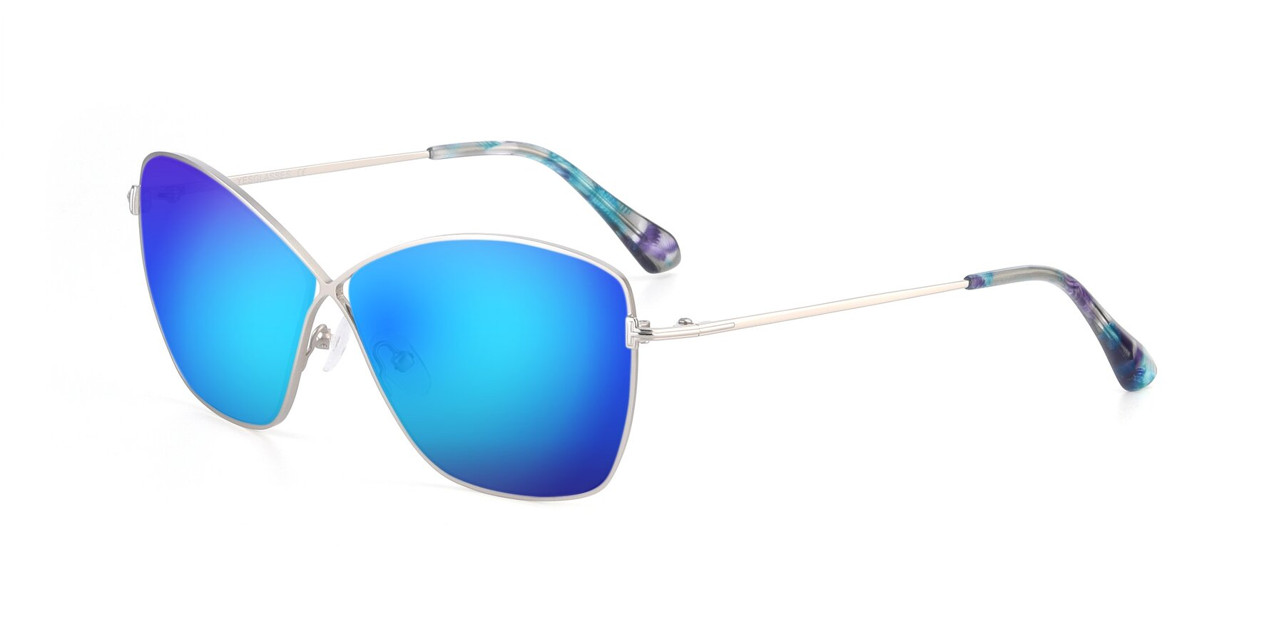 Angle of 9412 in Silver with Blue Mirrored Lenses
