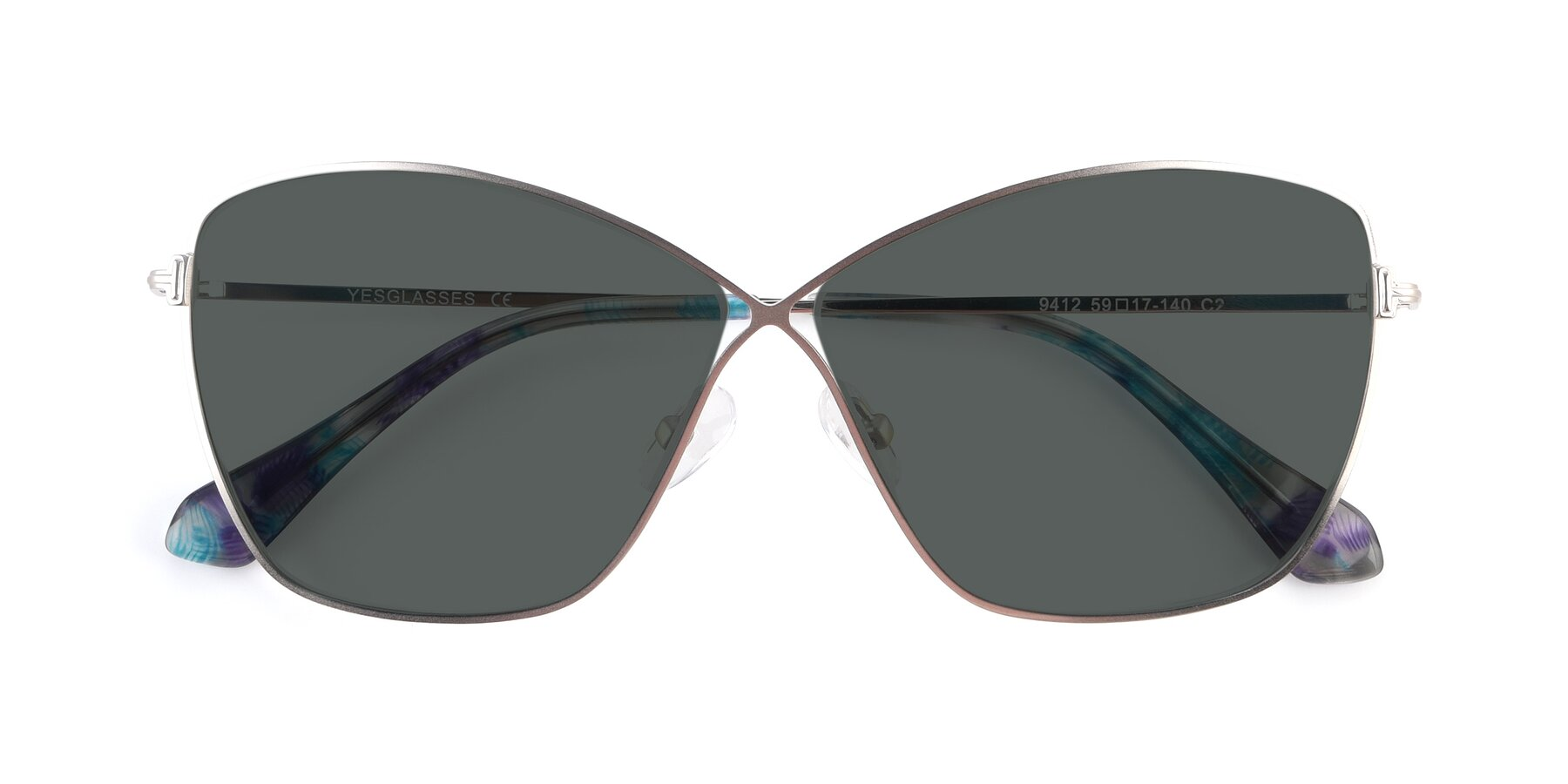 Folded Front of 9412 in Silver with Gray Polarized Lenses