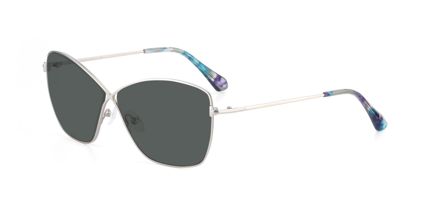 Angle of 9412 in Silver with Gray Polarized Lenses