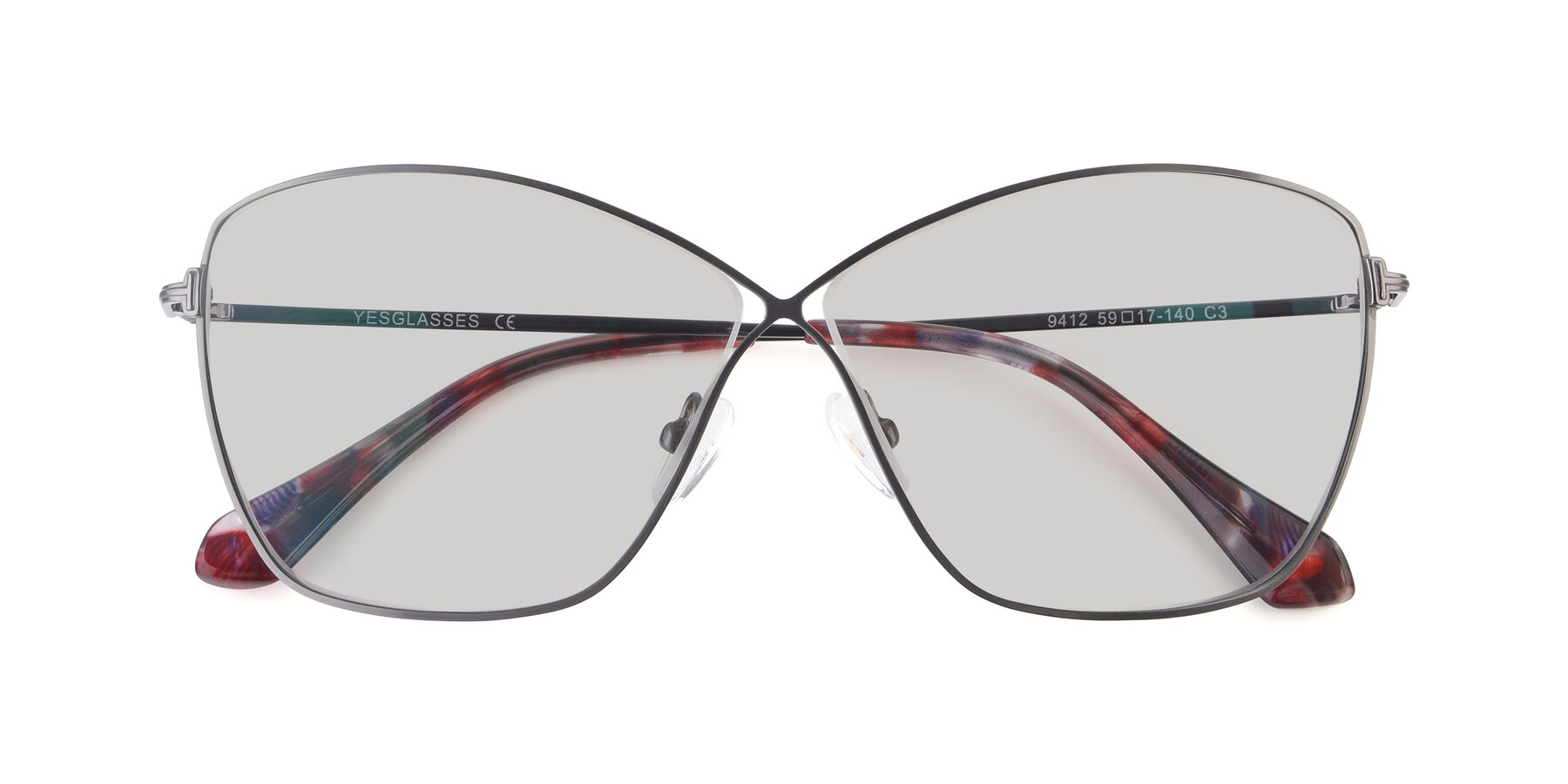 Folded Front of 9412 in Gunmetal with Light Gray Tinted Lenses