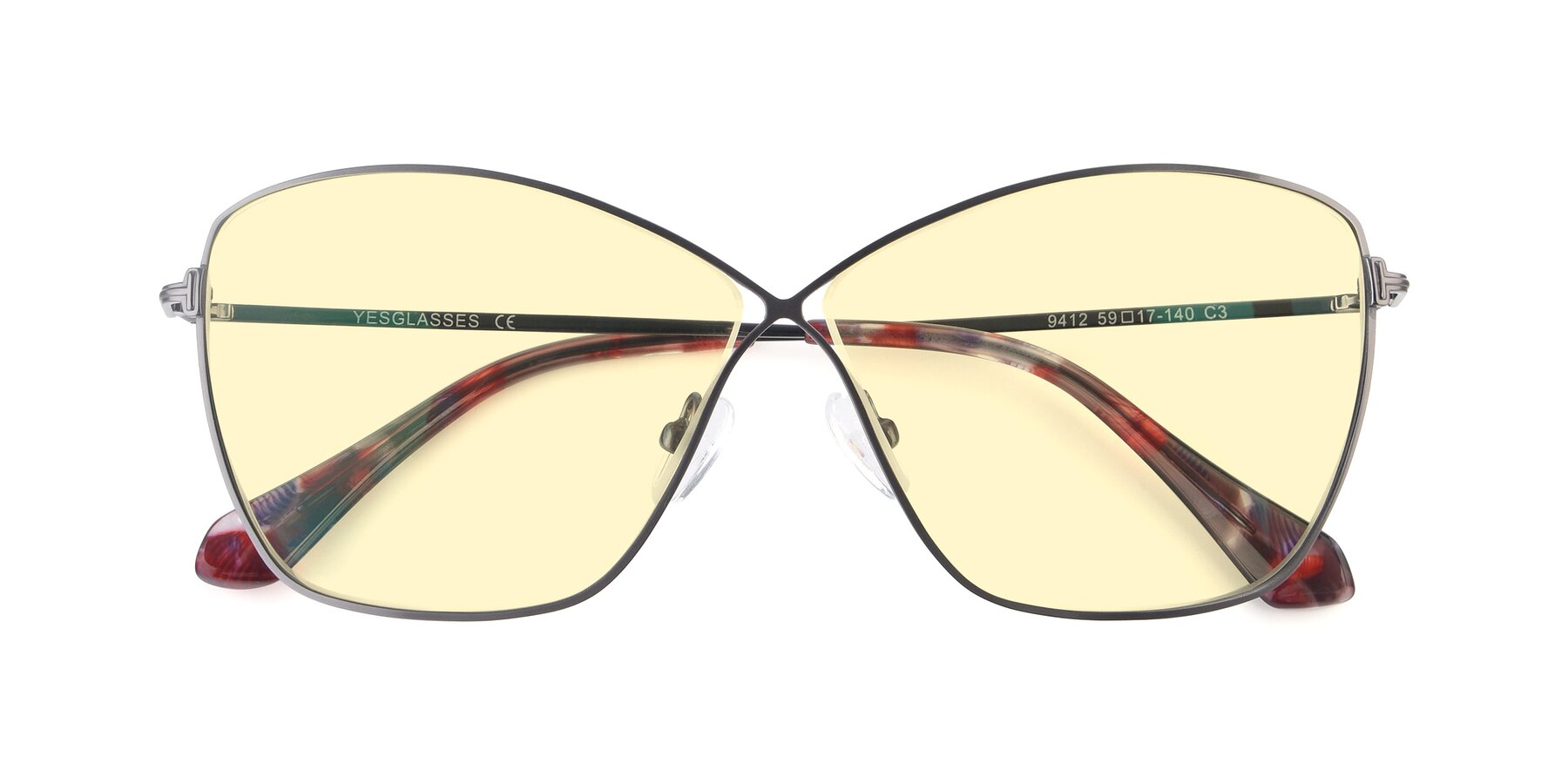 Folded Front of 9412 in Gunmetal with Light Yellow Tinted Lenses