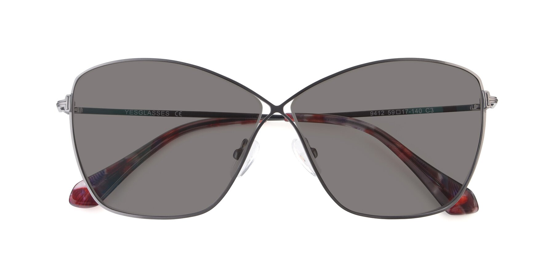 Folded Front of 9412 in Gunmetal with Medium Gray Tinted Lenses