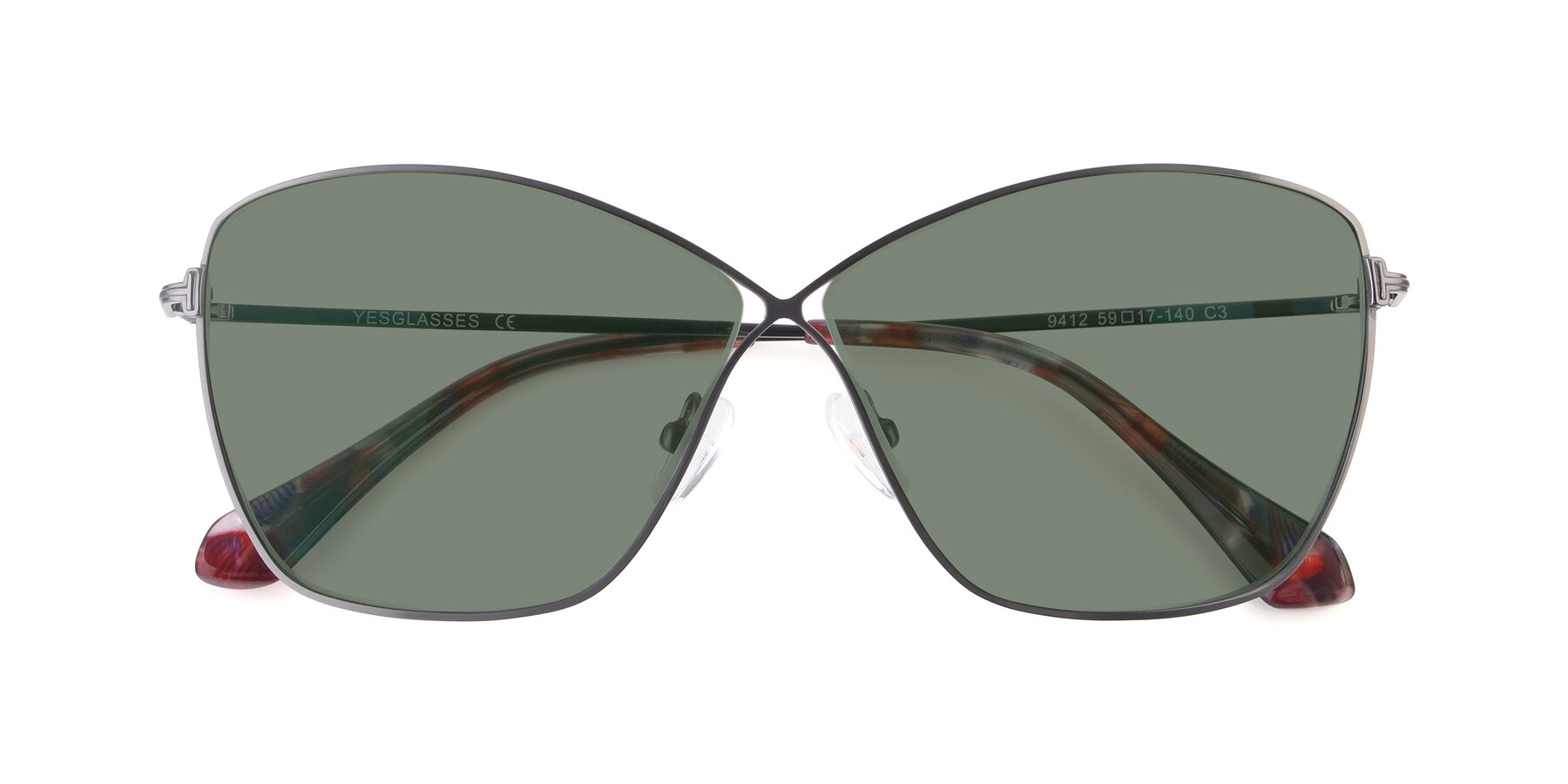Folded Front of 9412 in Gunmetal with Medium Green Tinted Lenses