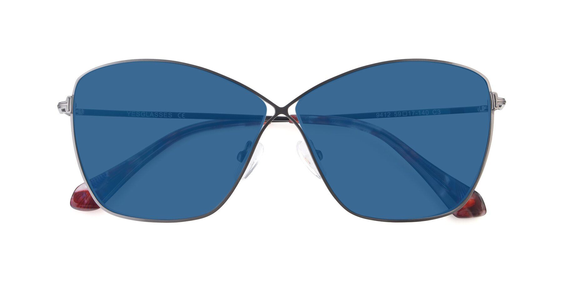 Folded Front of 9412 in Gunmetal with Blue Tinted Lenses