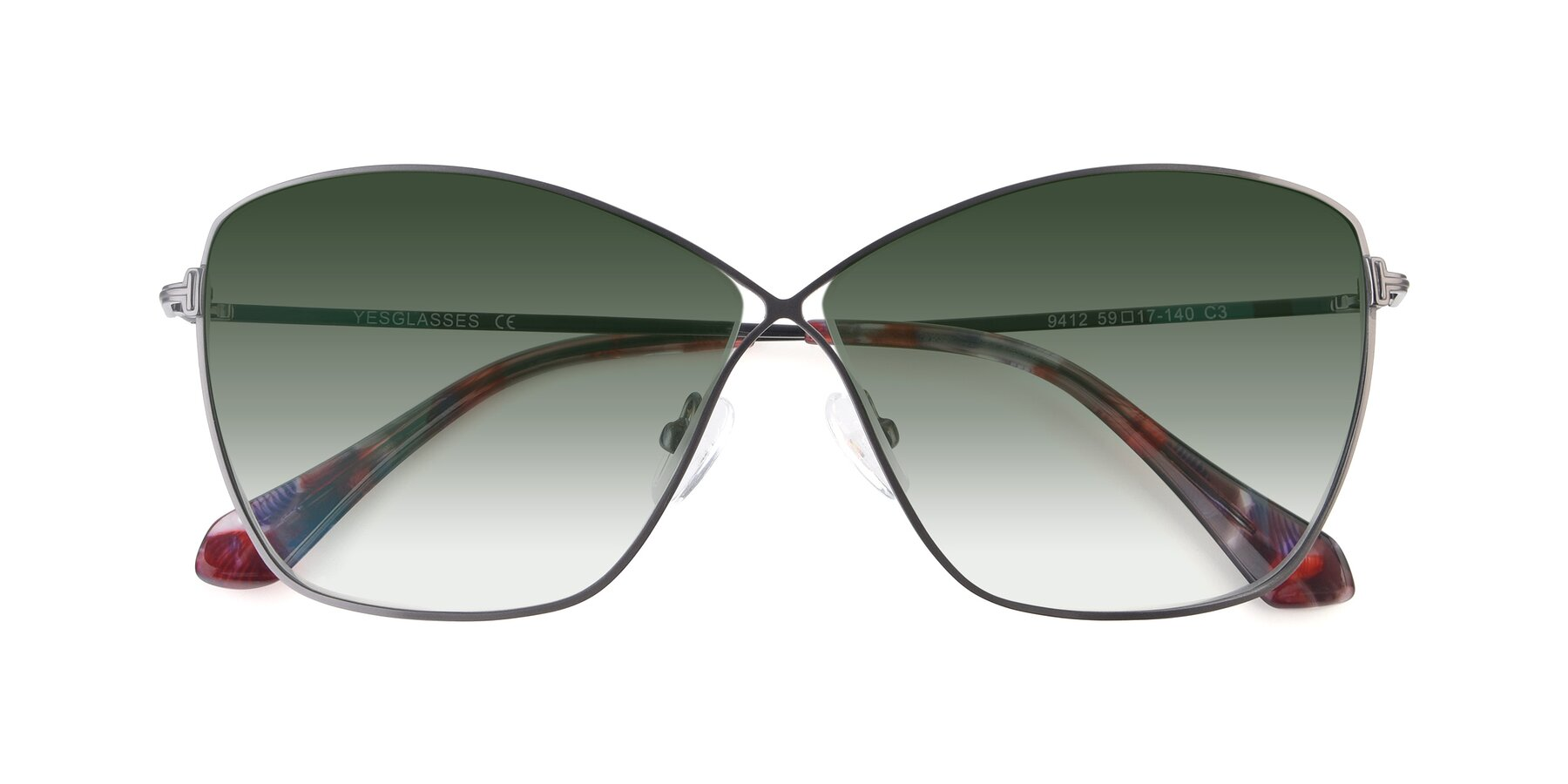 Folded Front of 9412 in Gunmetal with Green Gradient Lenses