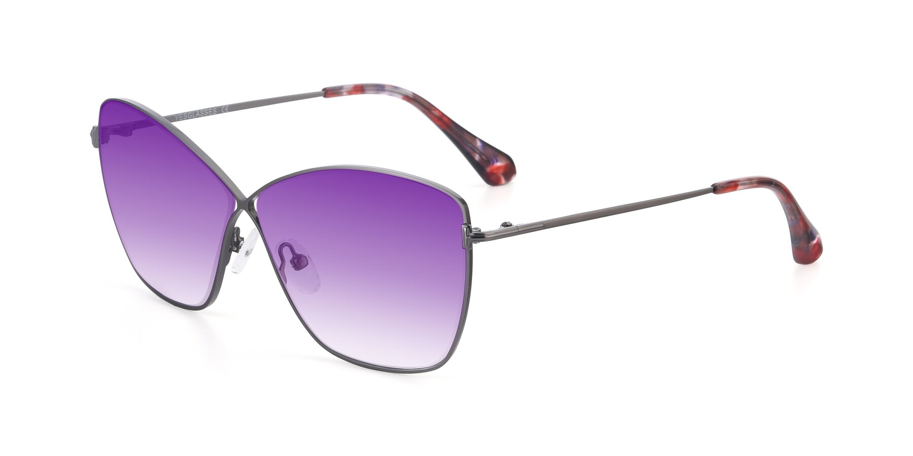 Angle of 9412 in Gunmetal with Purple Gradient Lenses