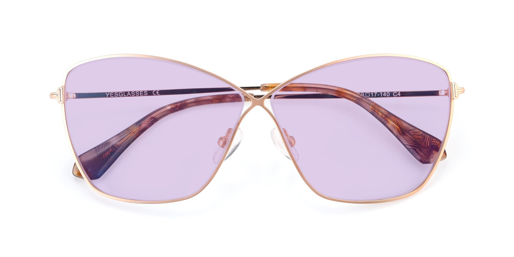 Folded Front of 9412 in Gold with Light Purple Tinted Lenses