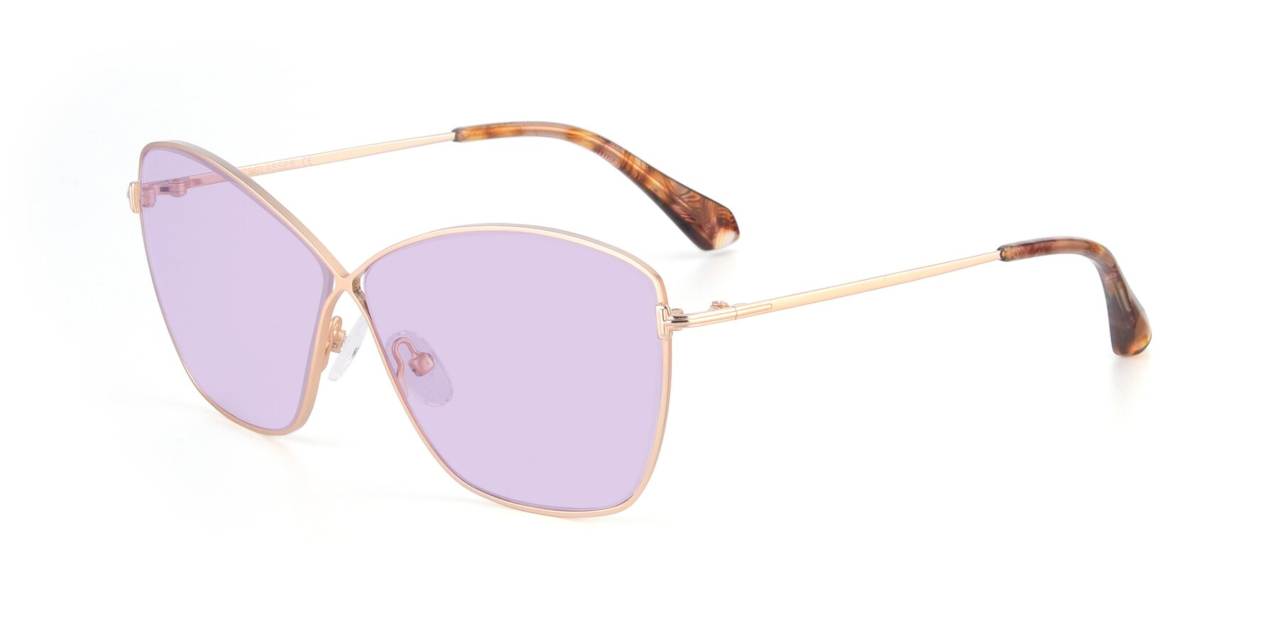 Angle of 9412 in Gold with Light Purple Tinted Lenses