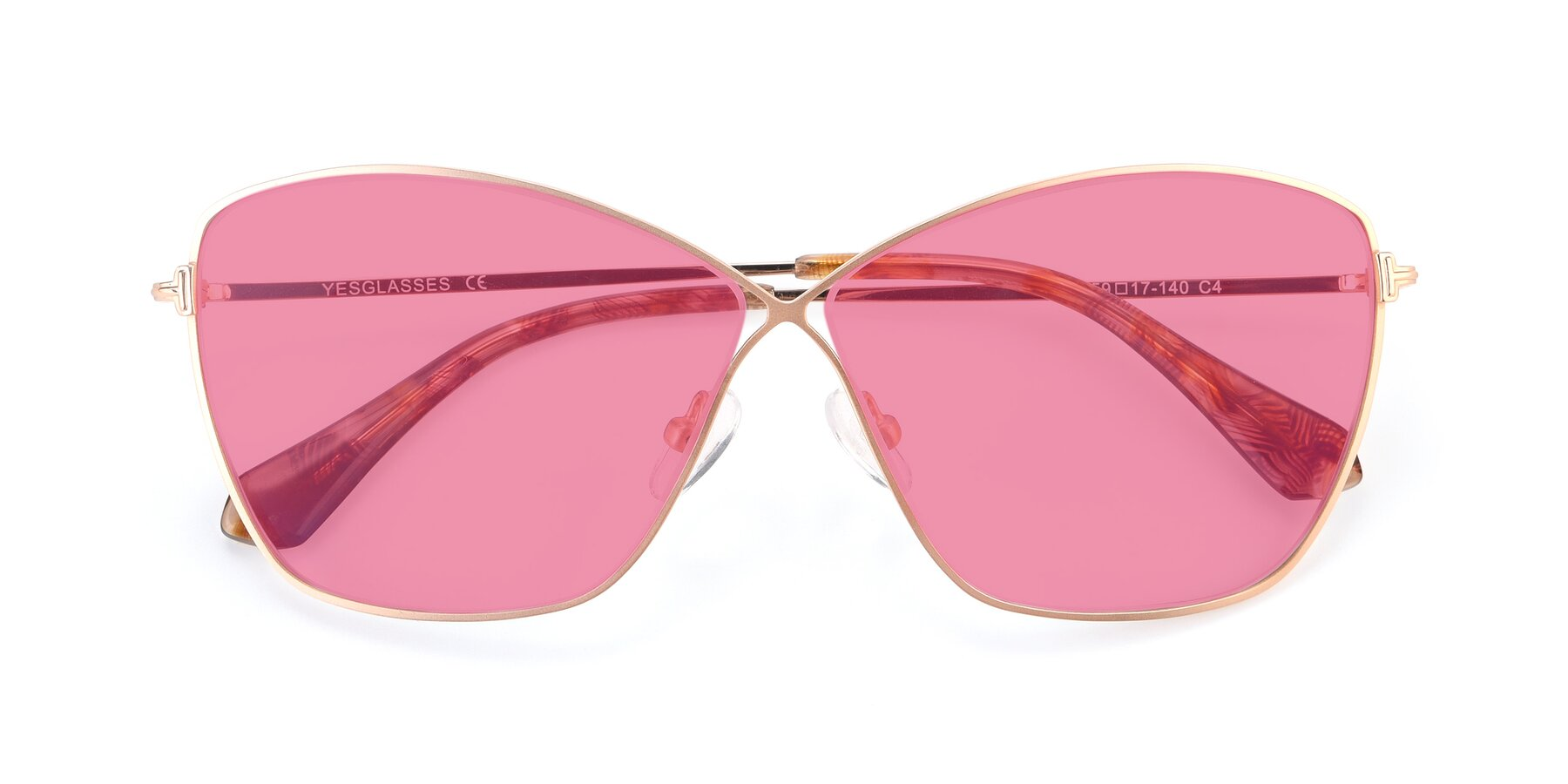 Folded Front of 9412 in Gold with Pink Tinted Lenses
