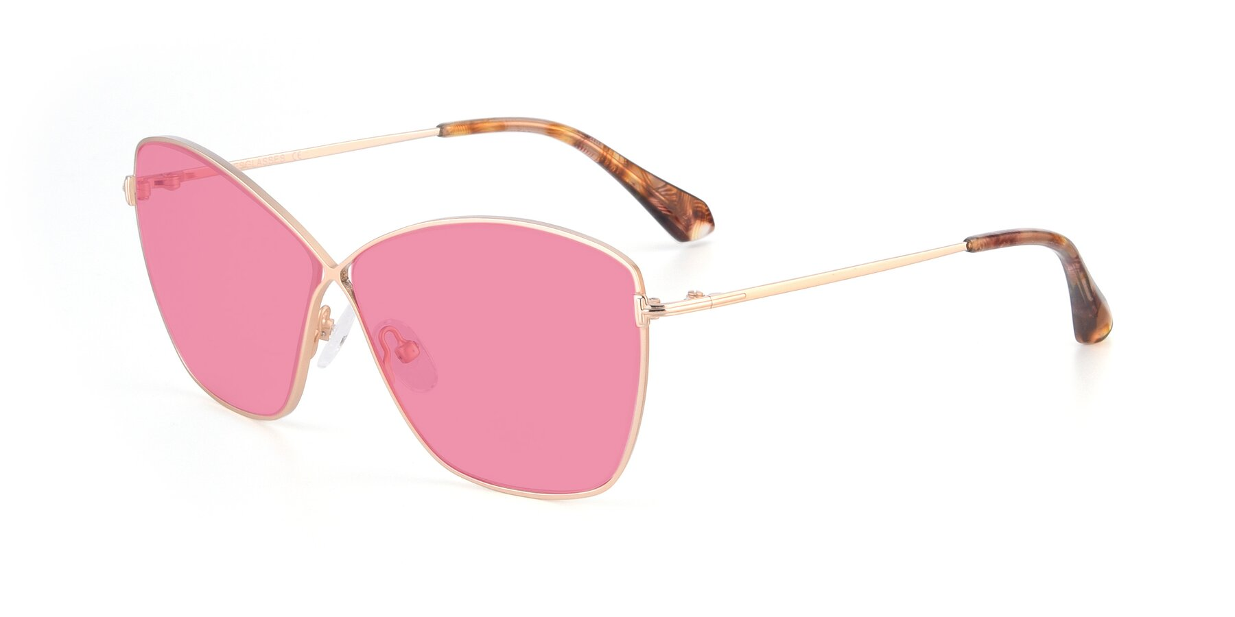 Angle of 9412 in Gold with Pink Tinted Lenses