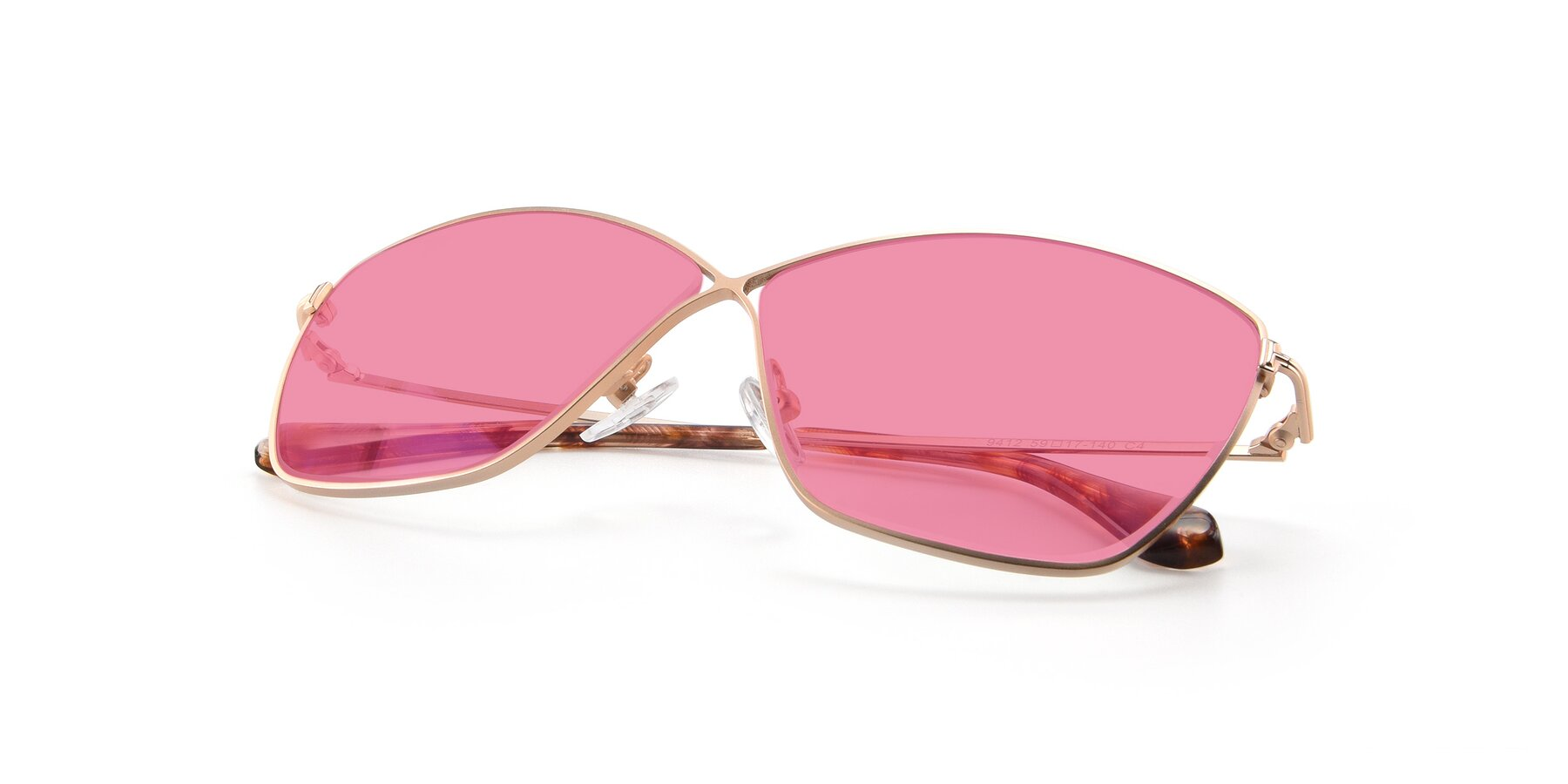 View of 9412 in Gold with Pink Tinted Lenses