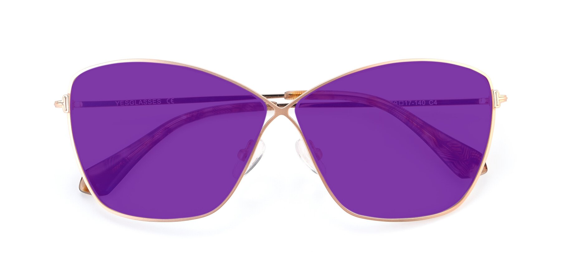 Folded Front of 9412 in Gold with Purple Tinted Lenses