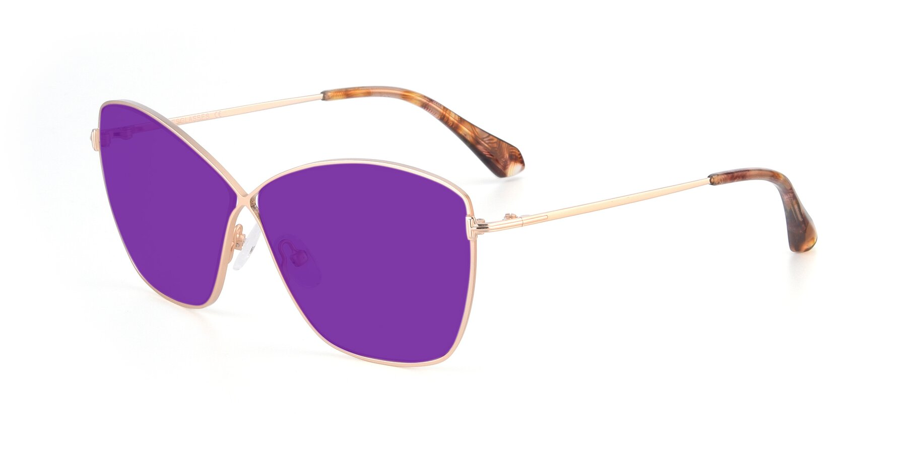 Angle of 9412 in Gold with Purple Tinted Lenses
