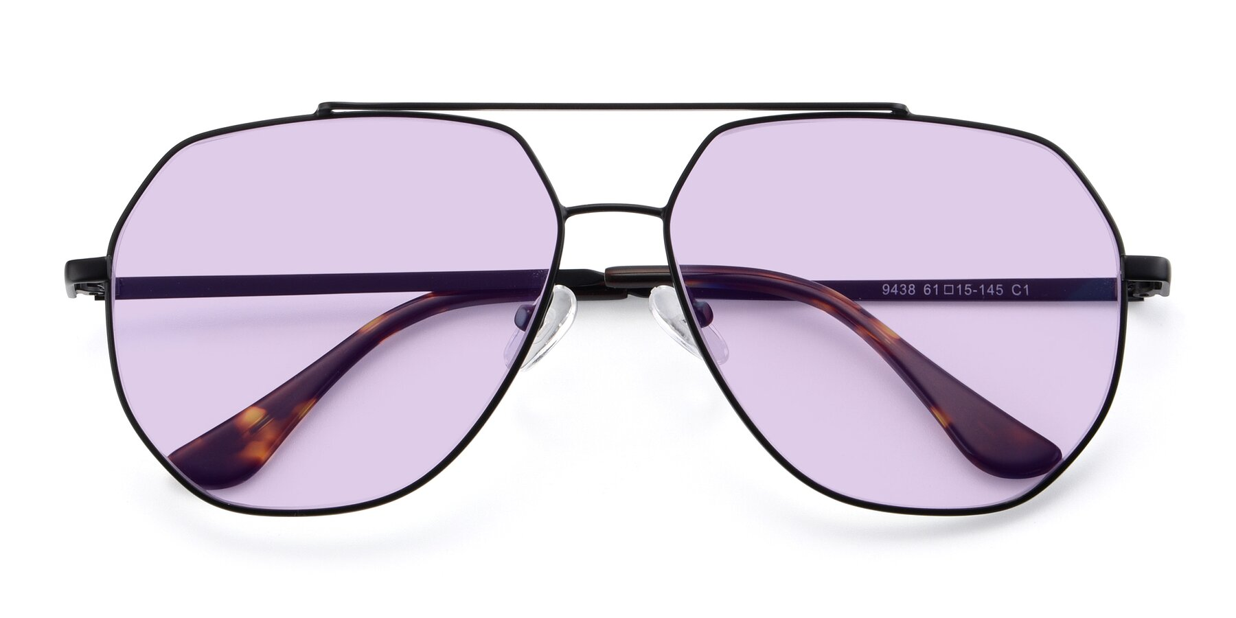 Folded Front of 9438 in Black with Light Purple Tinted Lenses