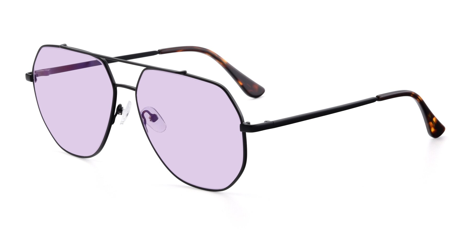 Angle of 9438 in Black with Light Purple Tinted Lenses