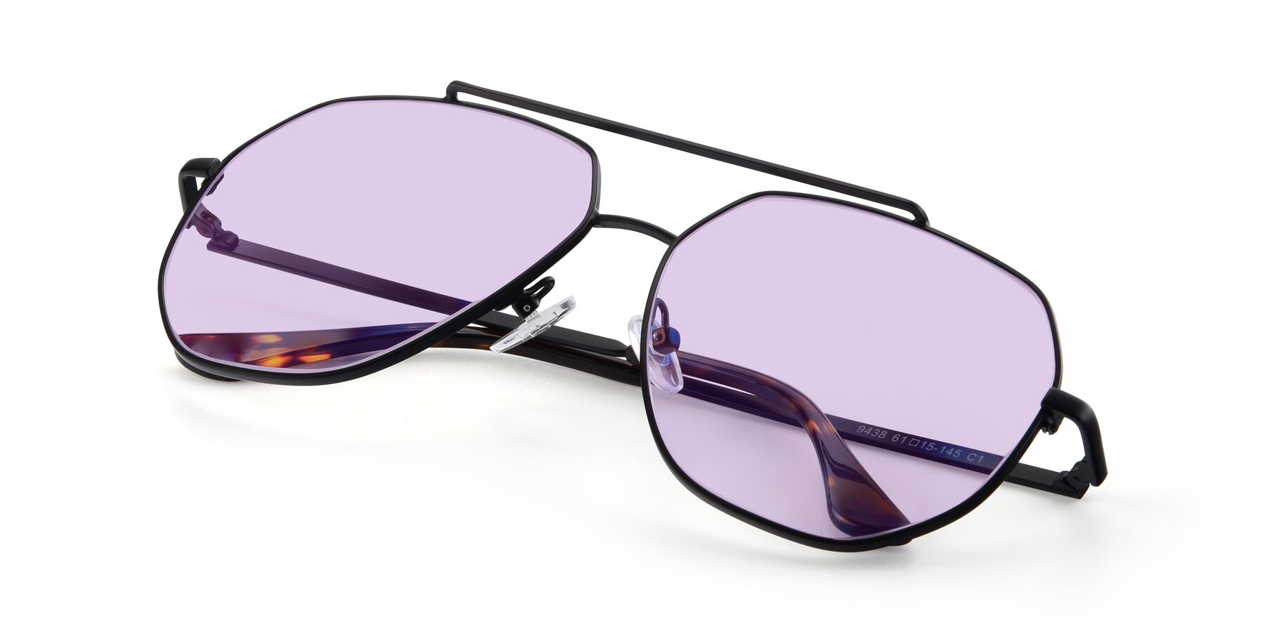 View of 9438 in Black with Light Purple Tinted Lenses