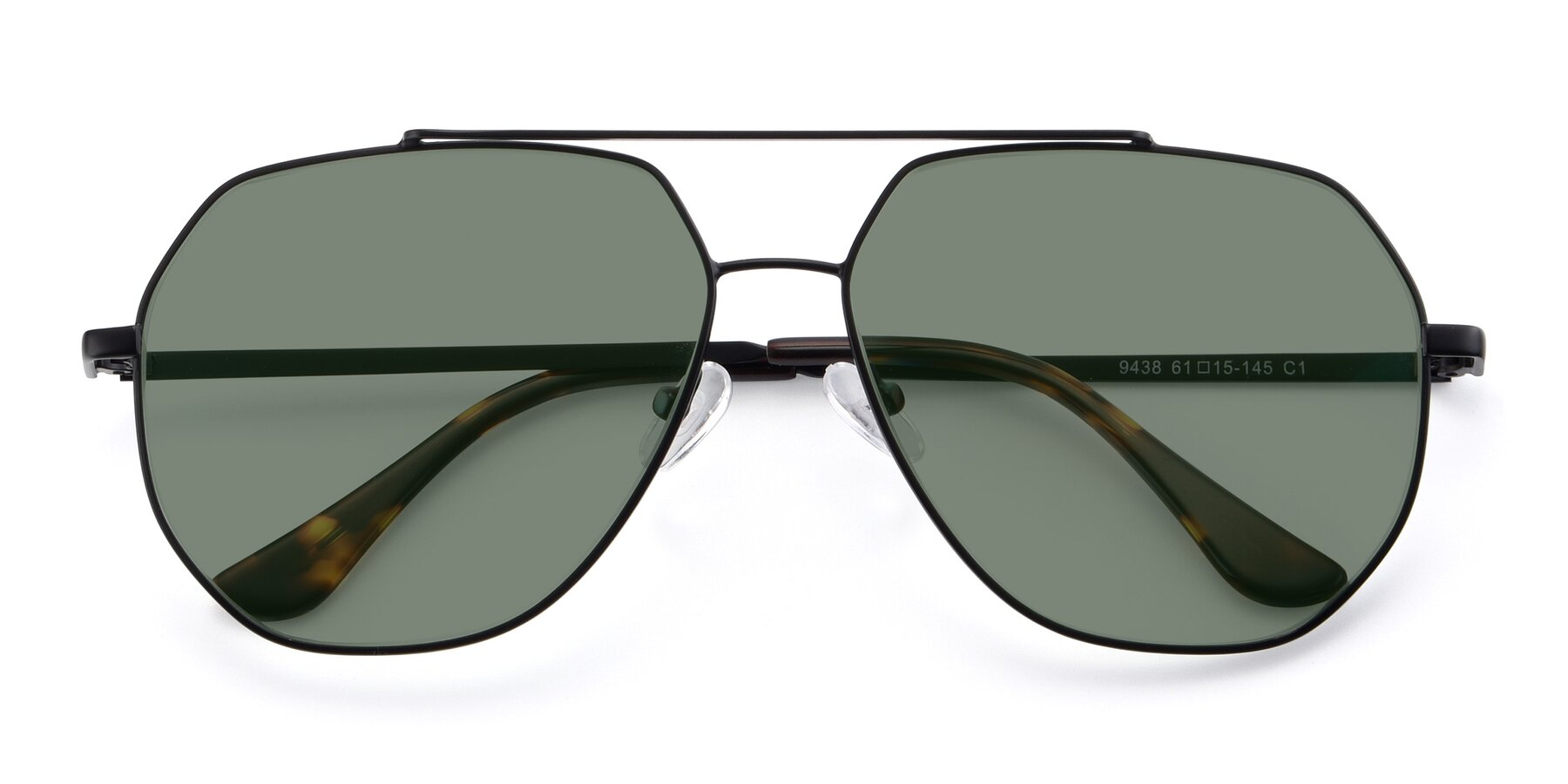 Folded Front of 9438 in Black with Medium Green Tinted Lenses
