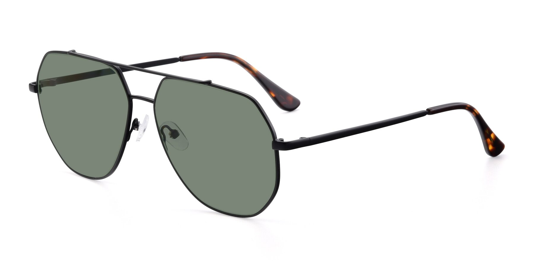 Angle of 9438 in Black with Medium Green Tinted Lenses