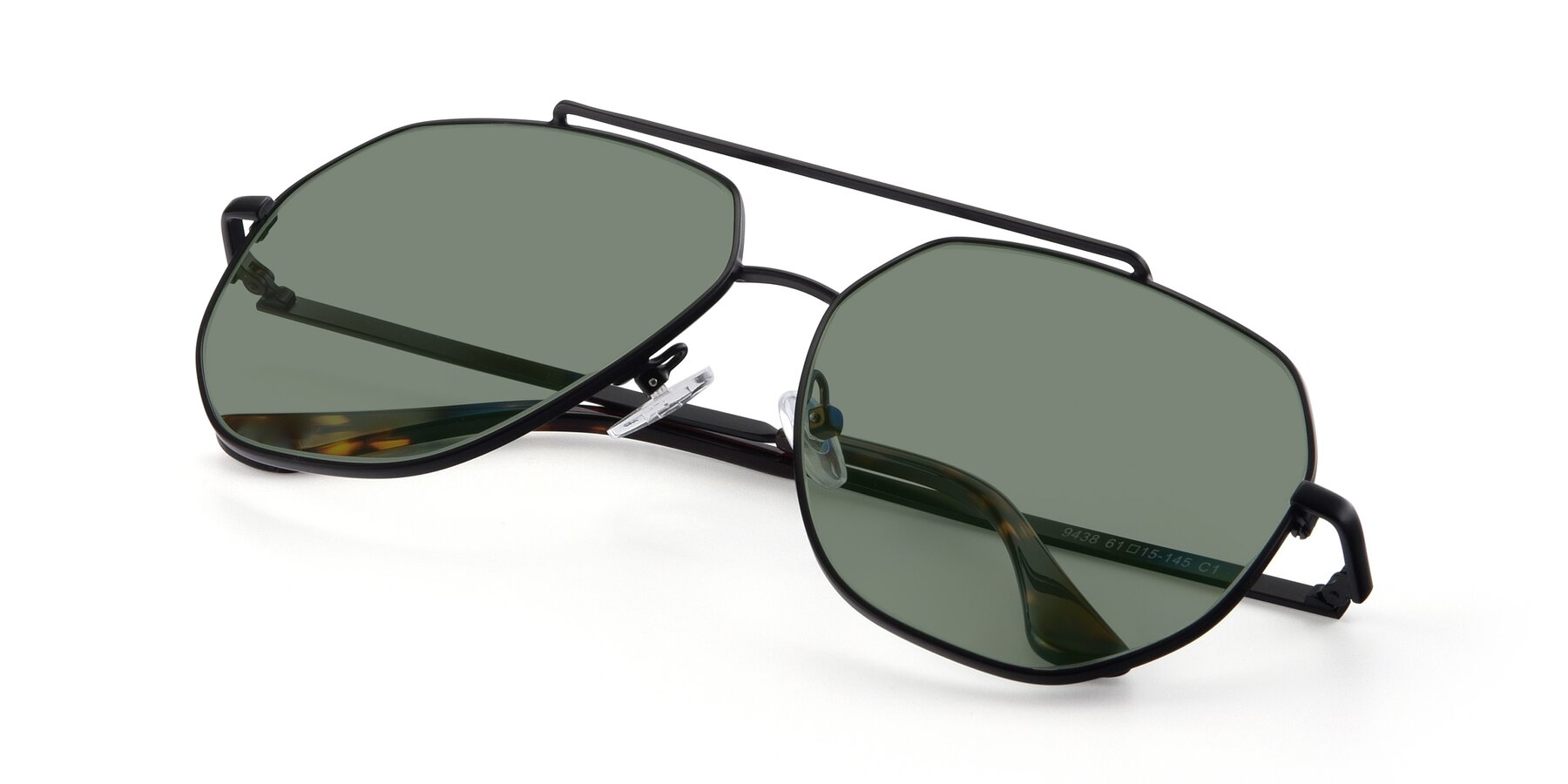 View of 9438 in Black with Medium Green Tinted Lenses