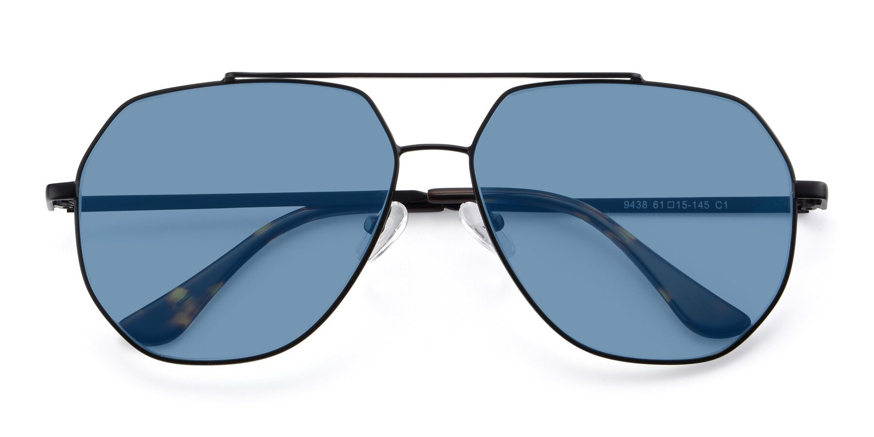 Folded Front of 9438 in Black with Medium Blue Tinted Lenses