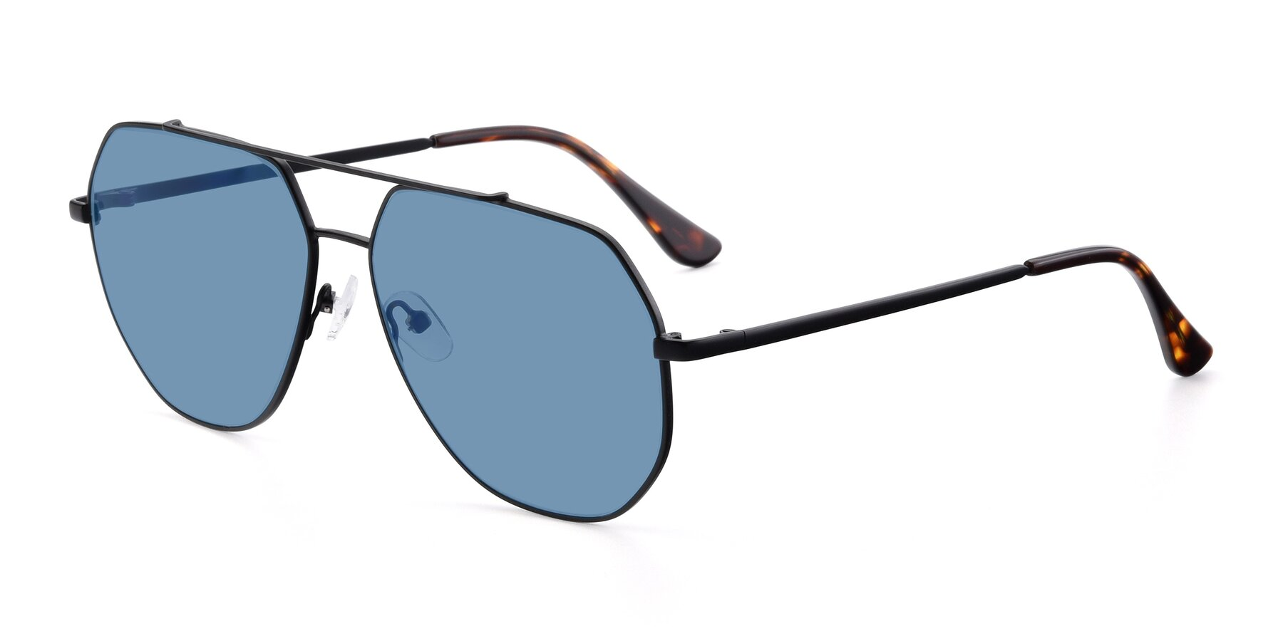 Angle of 9438 in Black with Medium Blue Tinted Lenses