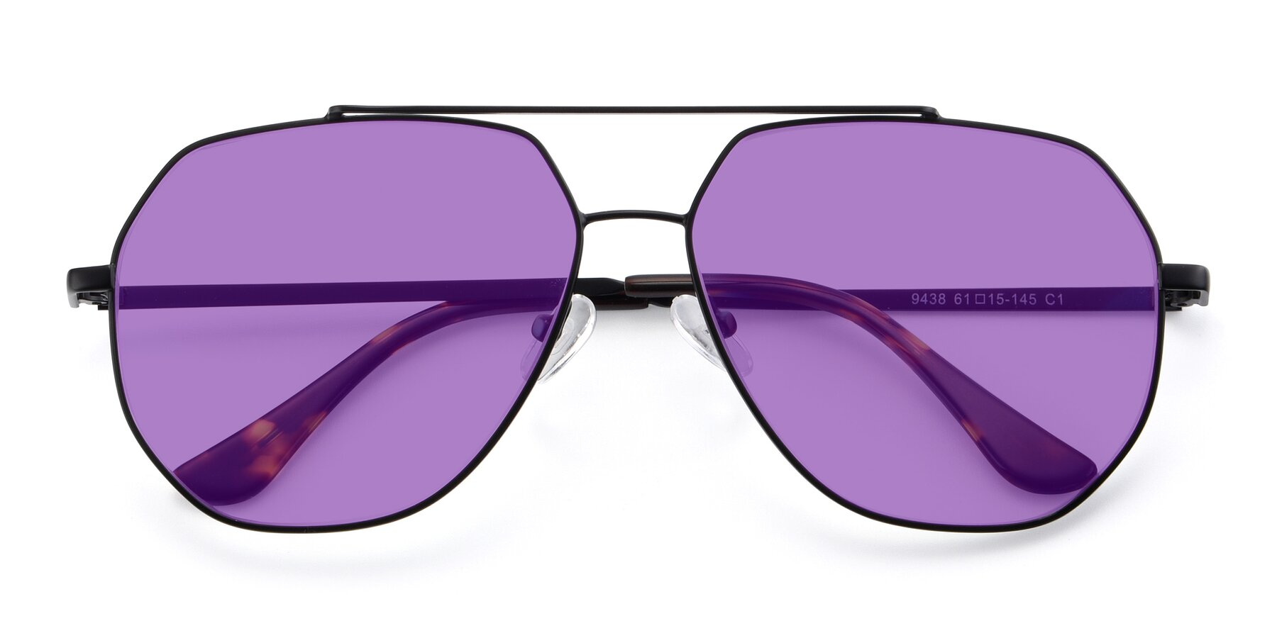 Folded Front of 9438 in Black with Medium Purple Tinted Lenses