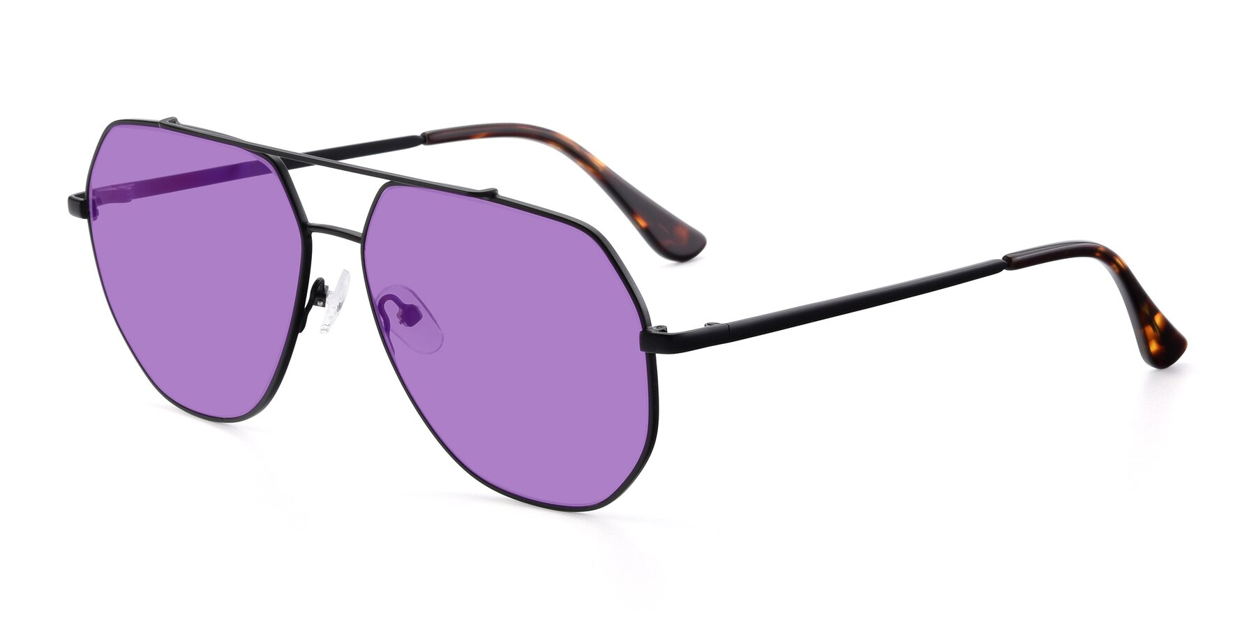 Angle of 9438 in Black with Medium Purple Tinted Lenses
